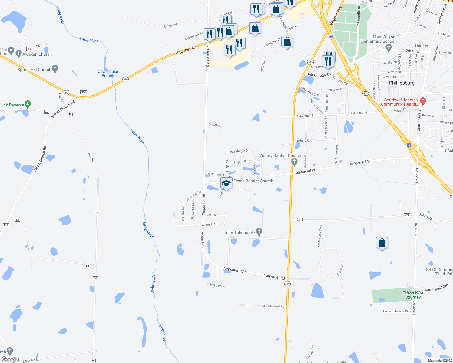 map of restaurants, bars, coffee shops, grocery stores, and more near 4108 London Lane in Tifton