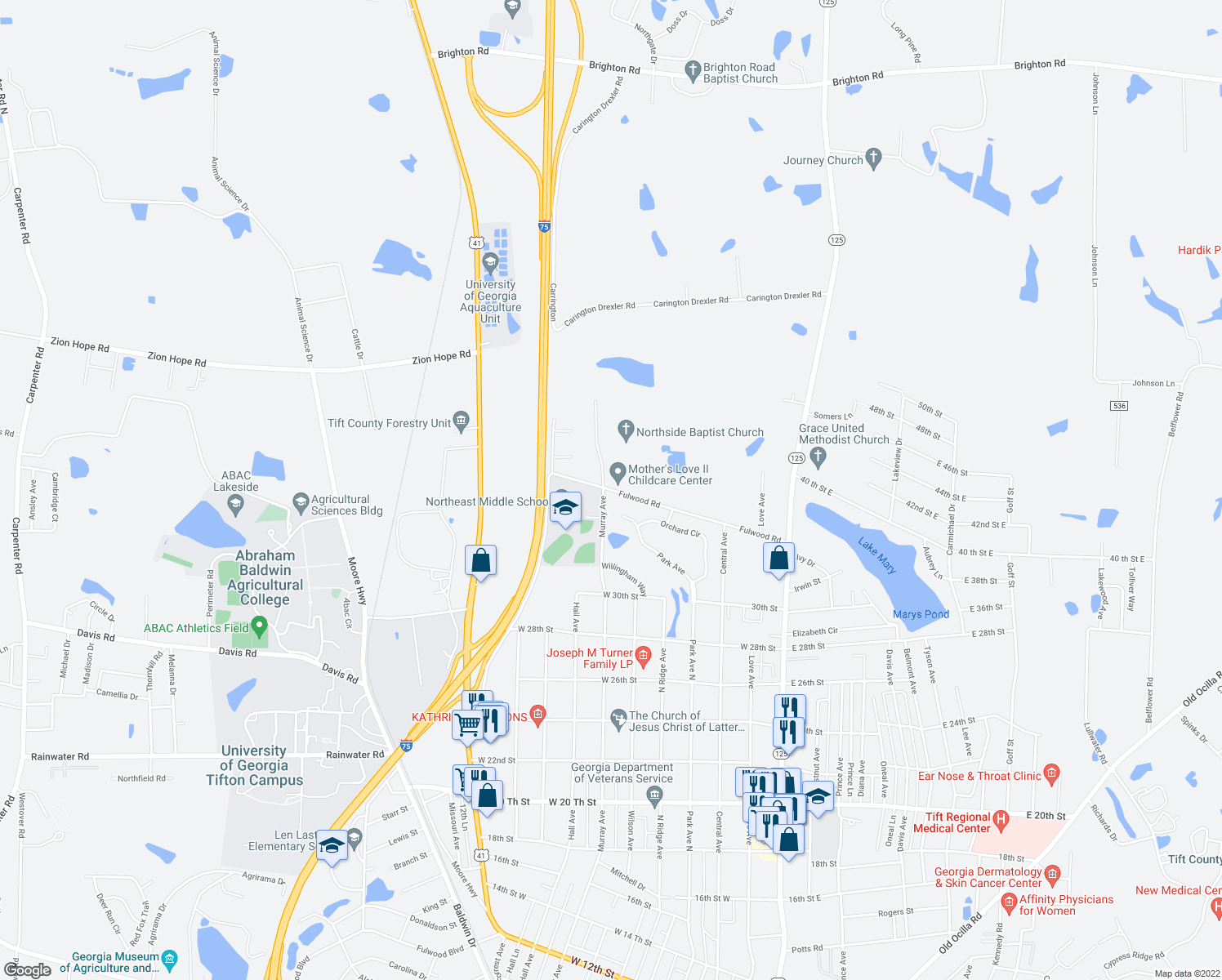 map of restaurants, bars, coffee shops, grocery stores, and more near 3002 Murray Avenue in Tifton