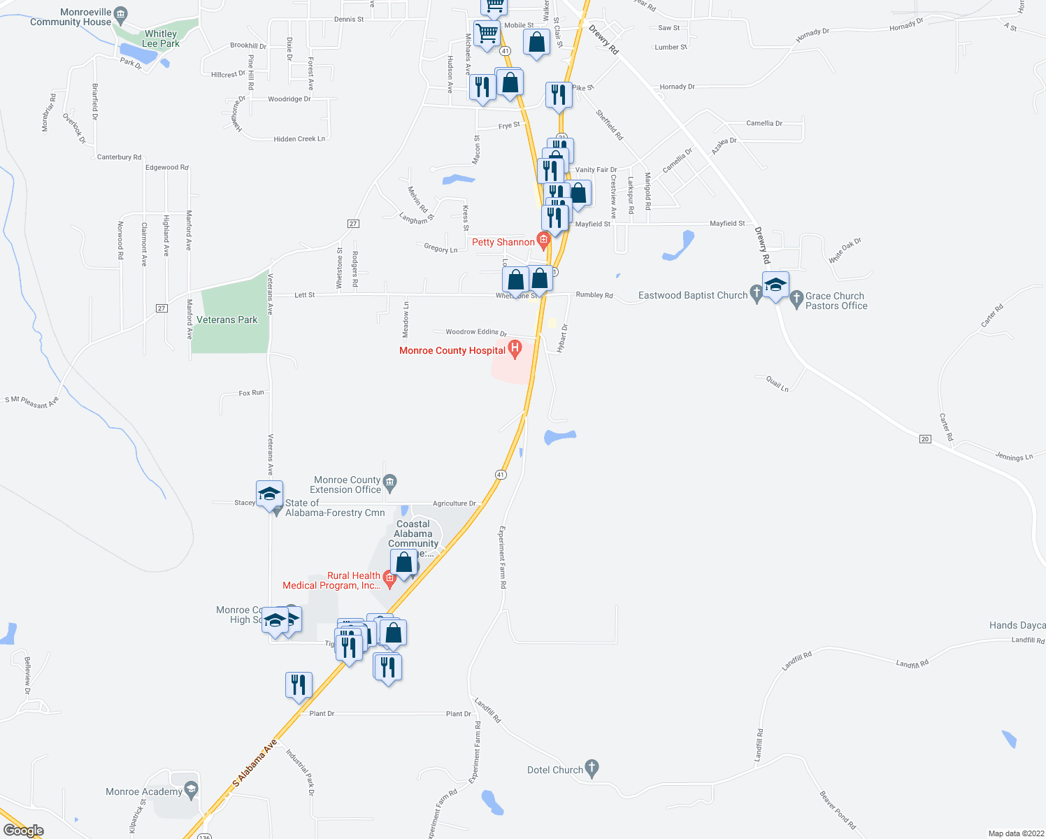 map of restaurants, bars, coffee shops, grocery stores, and more near 1834 Alabama Avenue in Monroeville