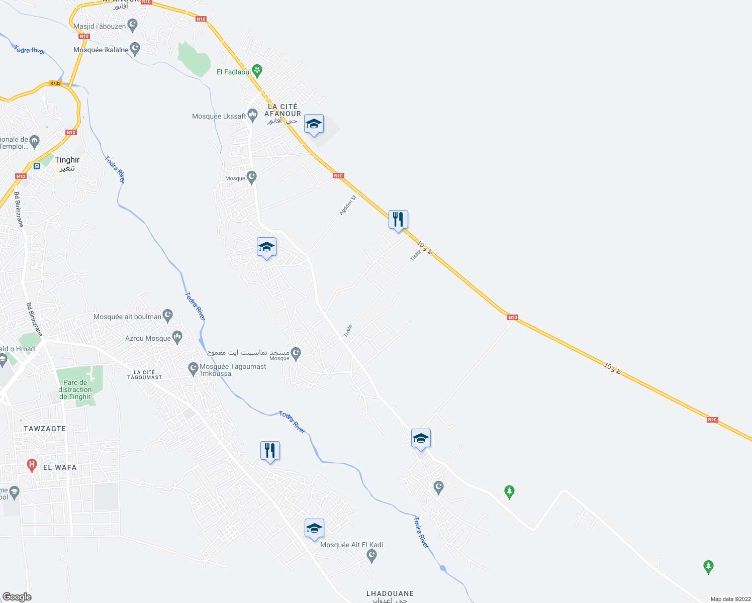 map of restaurants, bars, coffee shops, grocery stores, and more near Tislite in Tinghir
