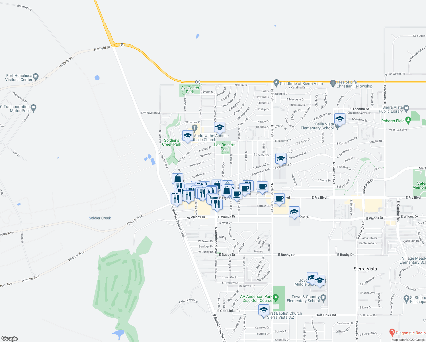 map of restaurants, bars, coffee shops, grocery stores, and more near 31 Steffens Street in Sierra Vista