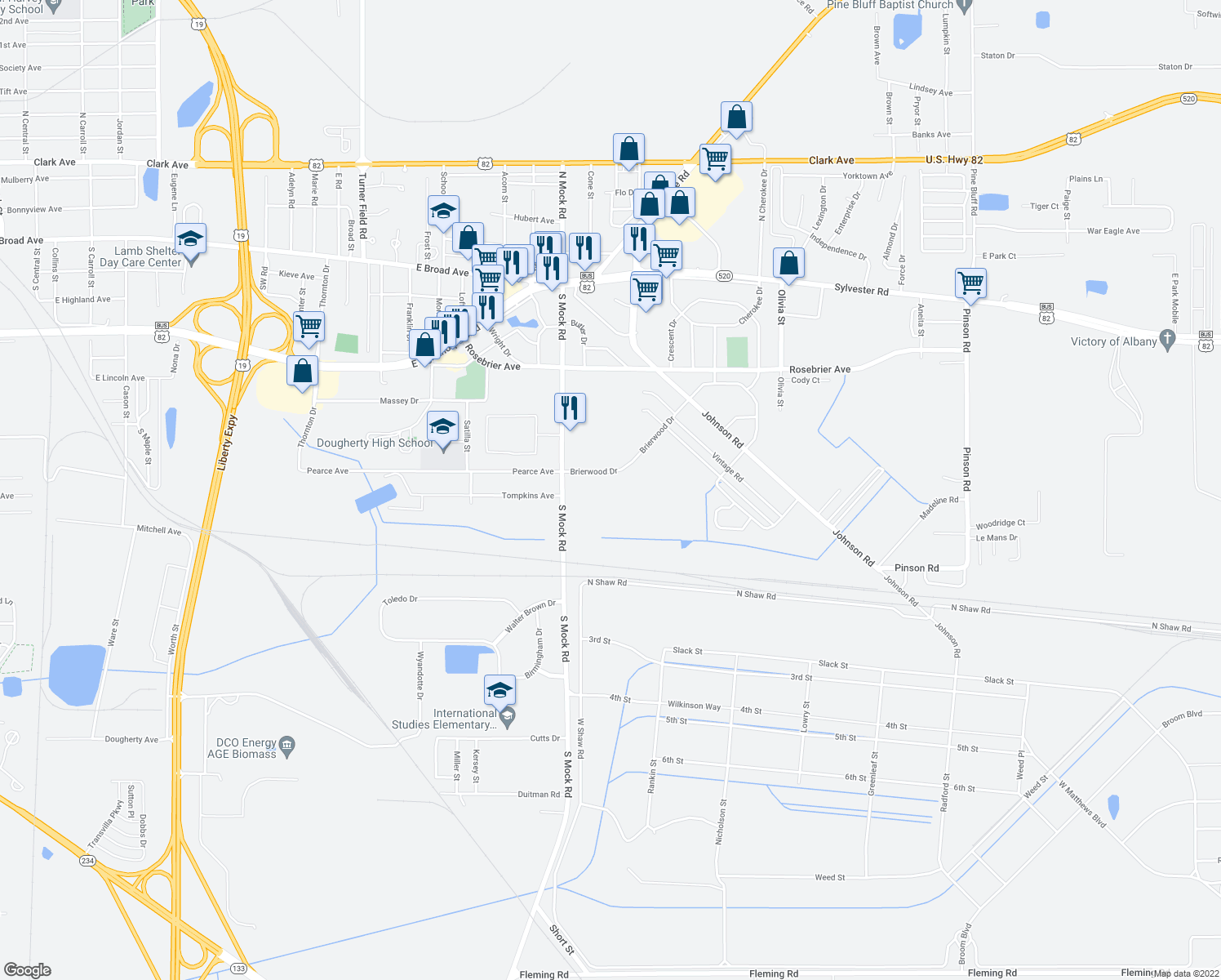 map of restaurants, bars, coffee shops, grocery stores, and more near 2414 Brierwood Drive in Albany