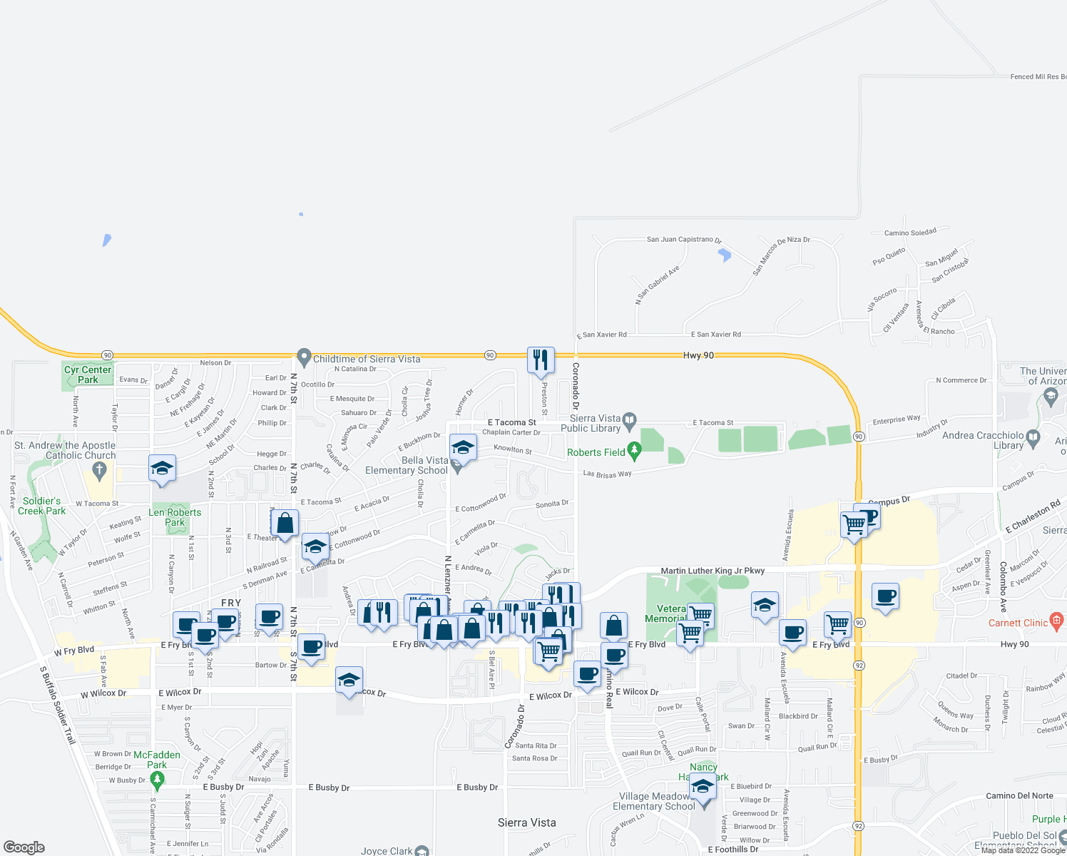 map of restaurants, bars, coffee shops, grocery stores, and more near 2065 Chaplain Carter Dr in Sierra Vista