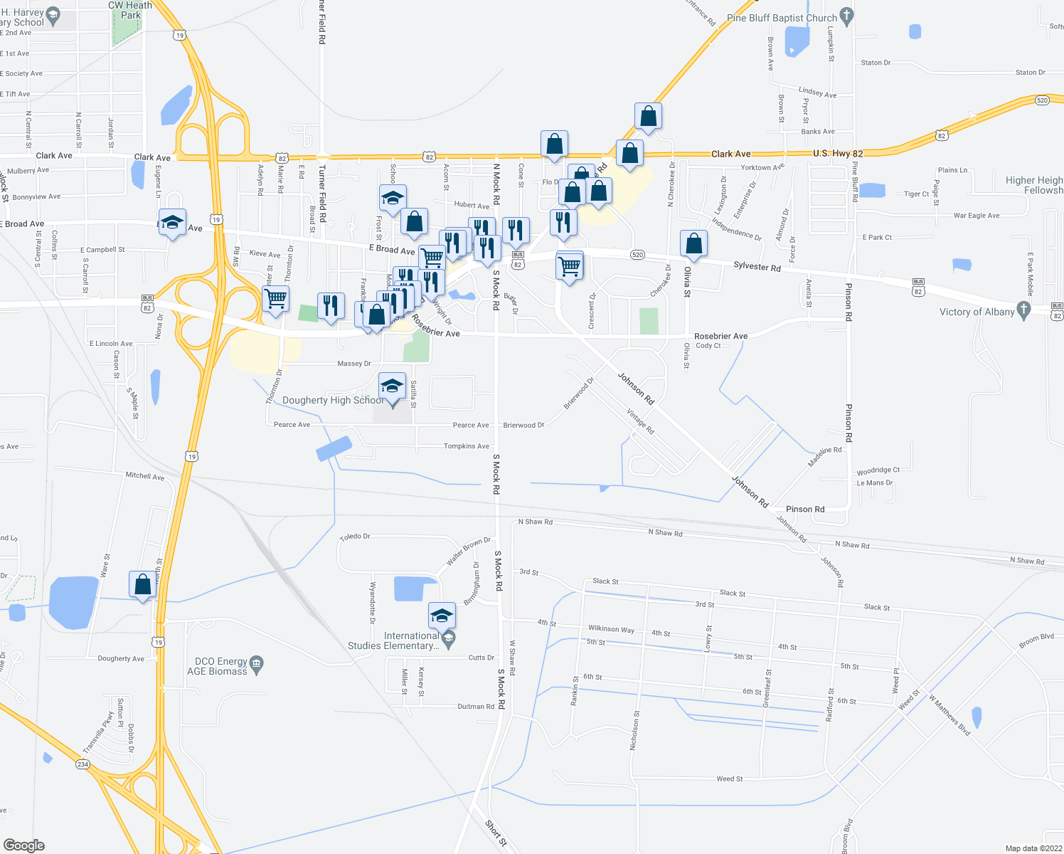 map of restaurants, bars, coffee shops, grocery stores, and more near 2400-2408 Brierwood Drive in Albany