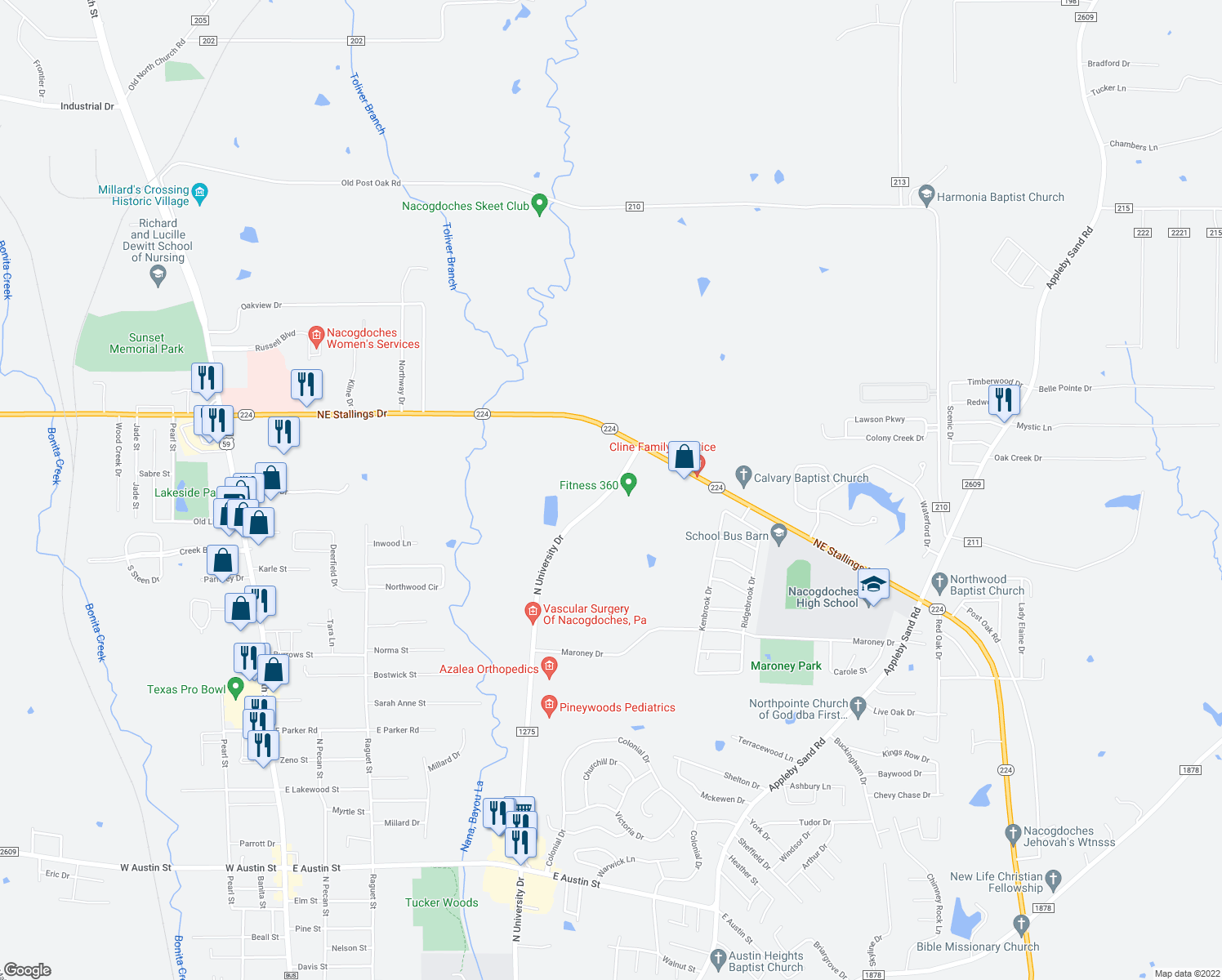 map of restaurants, bars, coffee shops, grocery stores, and more near 4704-4838 North University Drive in Nacogdoches