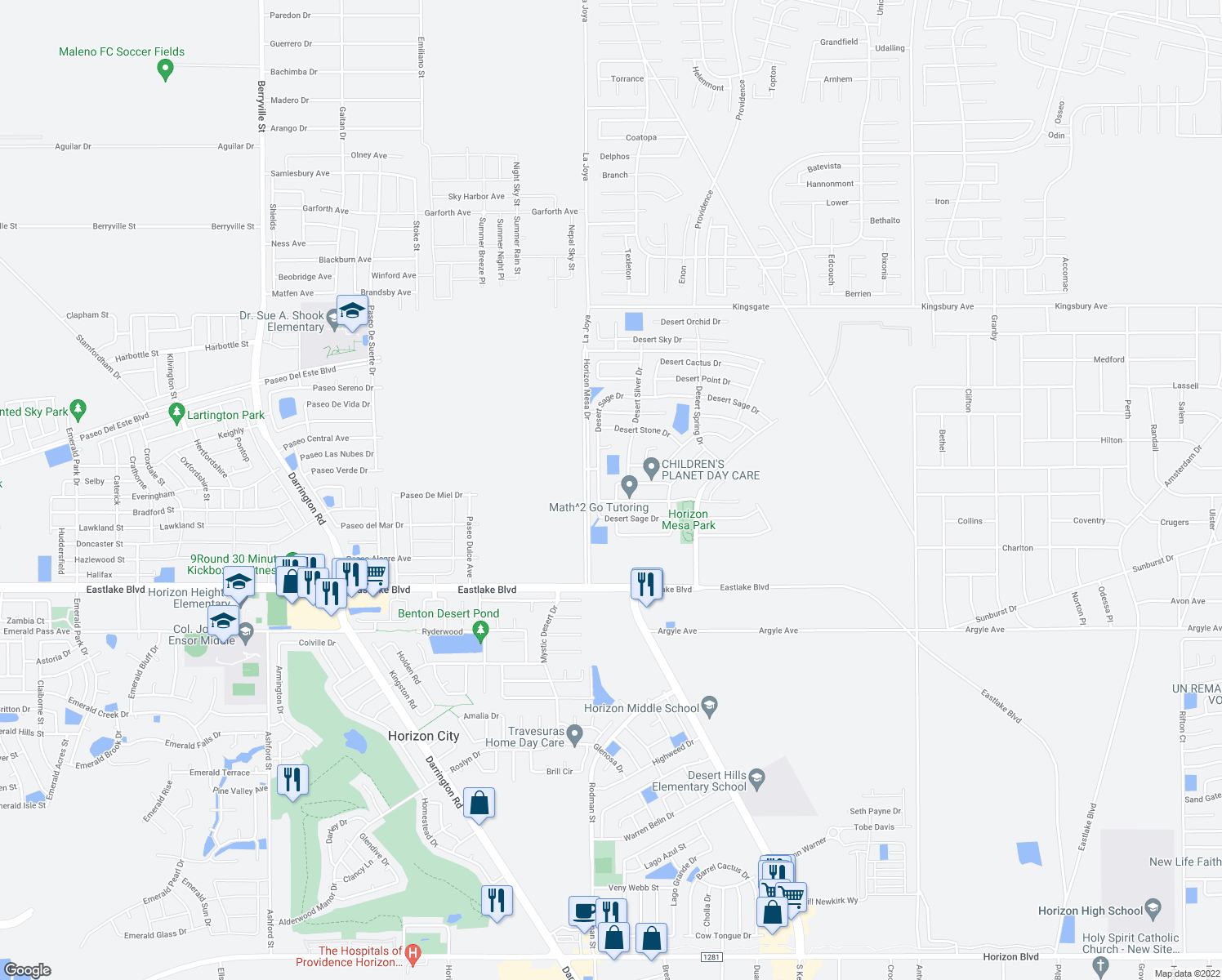 map of restaurants, bars, coffee shops, grocery stores, and more near 14225 Desert Cloud Drive in Horizon City