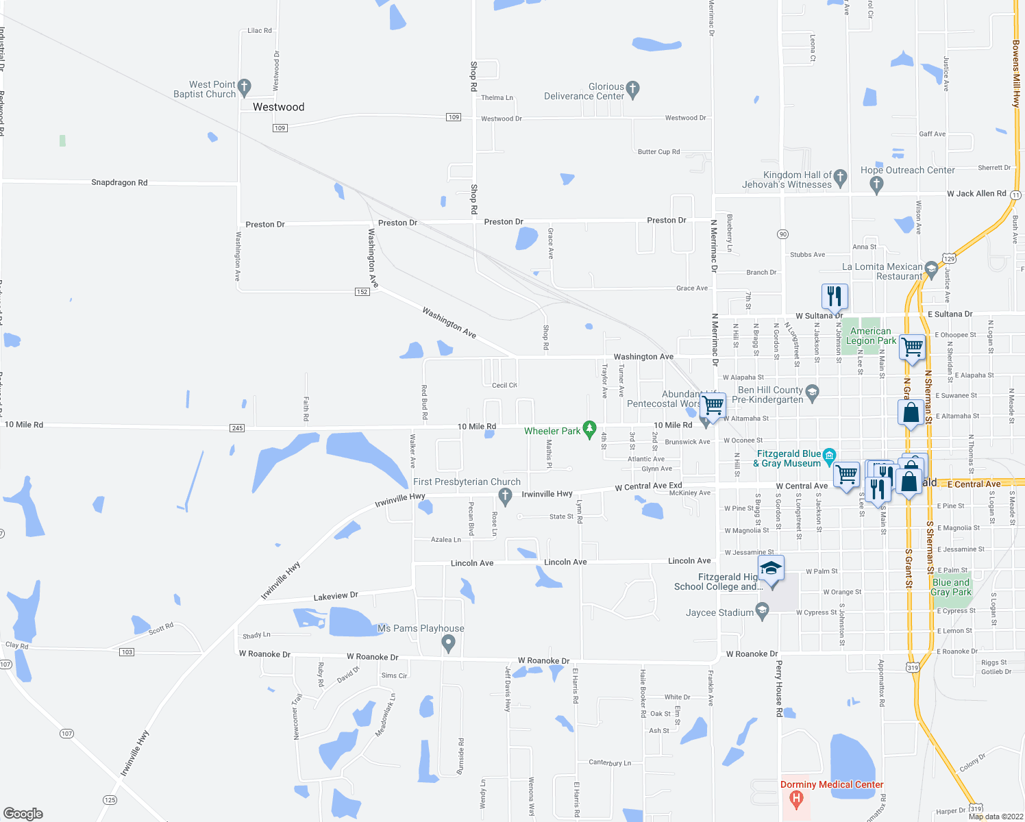map of restaurants, bars, coffee shops, grocery stores, and more near 124 Duane Drive in Fitzgerald