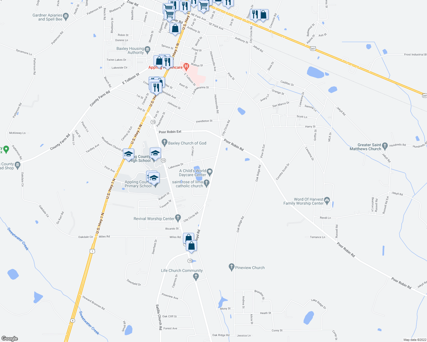 map of restaurants, bars, coffee shops, grocery stores, and more near 1278 City Circle Road in Baxley