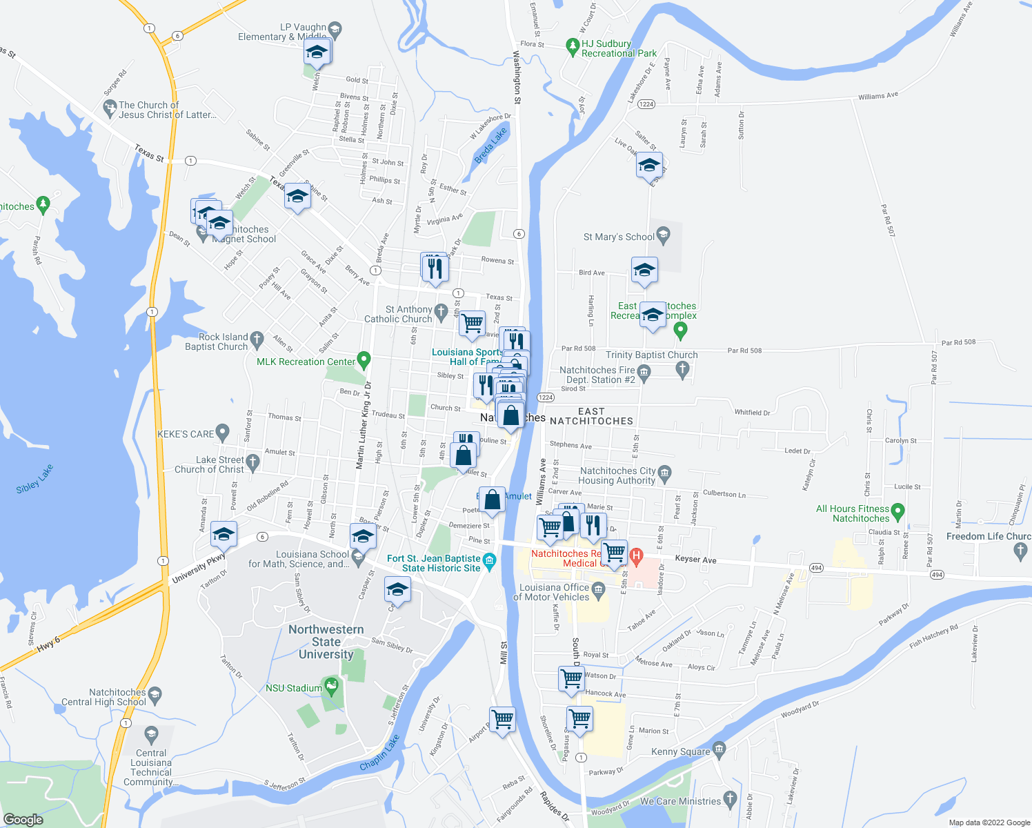map of restaurants, bars, coffee shops, grocery stores, and more near 104 Church Street in Natchitoches