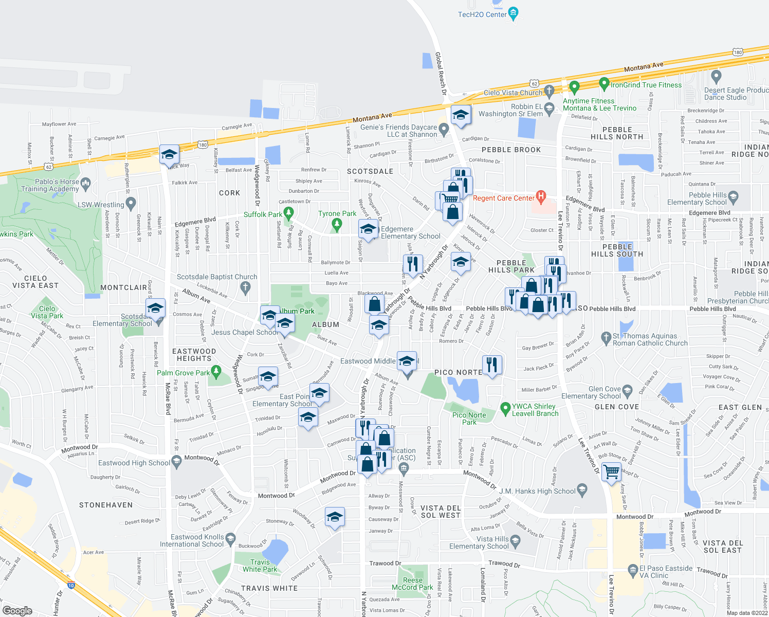 map of restaurants, bars, coffee shops, grocery stores, and more near 2933-3013 North Yarbrough Drive in El Paso