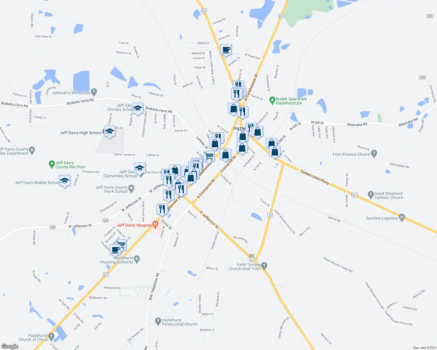 map of restaurants, bars, coffee shops, grocery stores, and more near 15-27 Cromartie Street in Hazlehurst