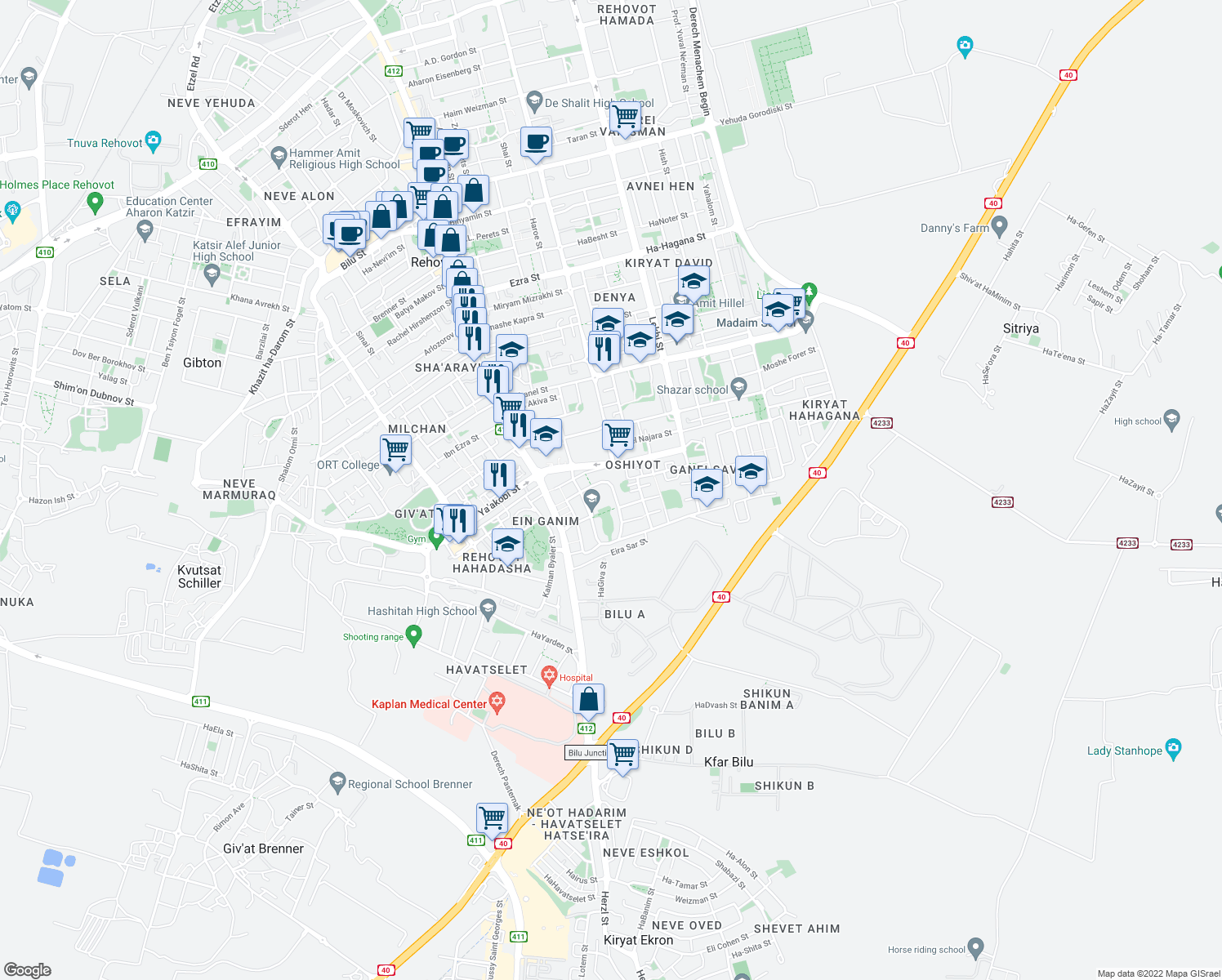 map of restaurants, bars, coffee shops, grocery stores, and more near 17 Ha-Po'el ha-Tsa'ir Street in Rehovot