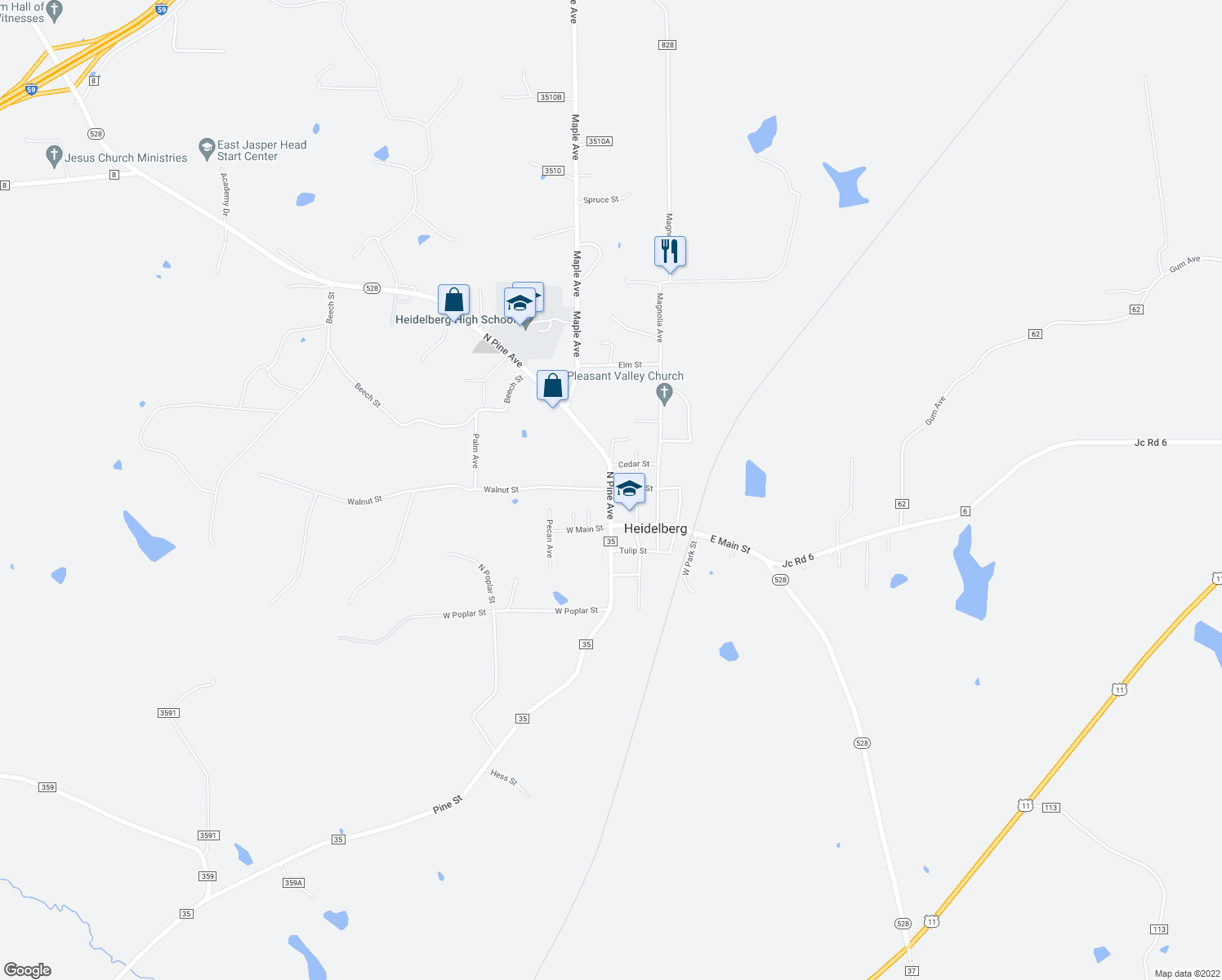 map of restaurants, bars, coffee shops, grocery stores, and more near 11 Highway 528 in Heidelberg