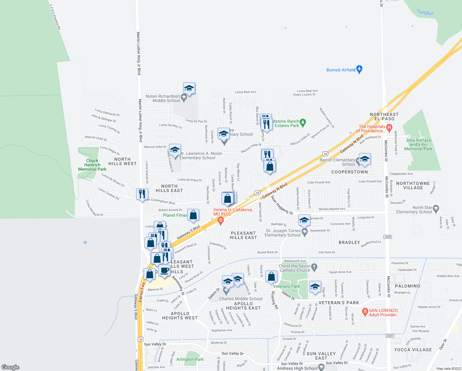 map of restaurants, bars, coffee shops, grocery stores, and more near 10964 Bullseye Street in El Paso