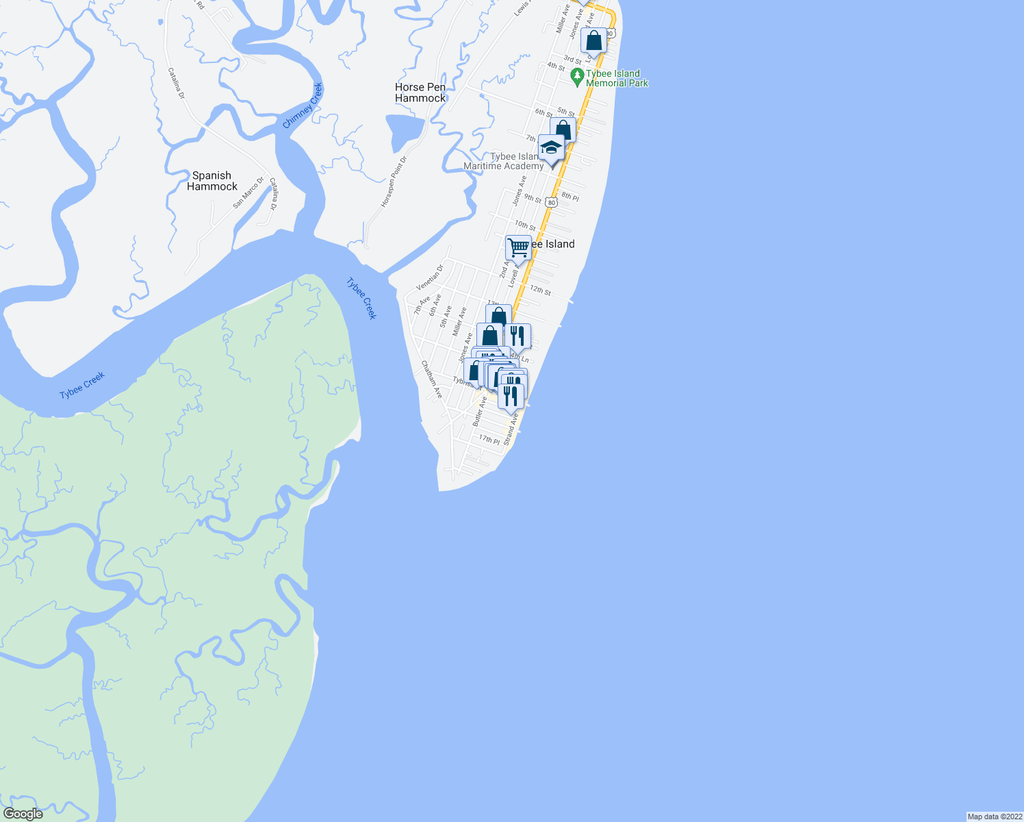 map of restaurants, bars, coffee shops, grocery stores, and more near 1609 Strand Avenue in Tybee Island