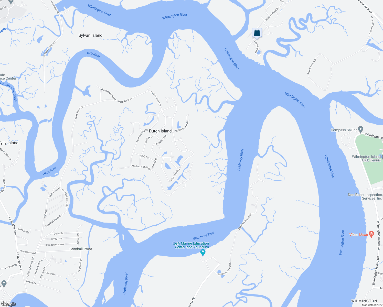 map of restaurants, bars, coffee shops, grocery stores, and more near 54 Wild Thistle Lane in Savannah