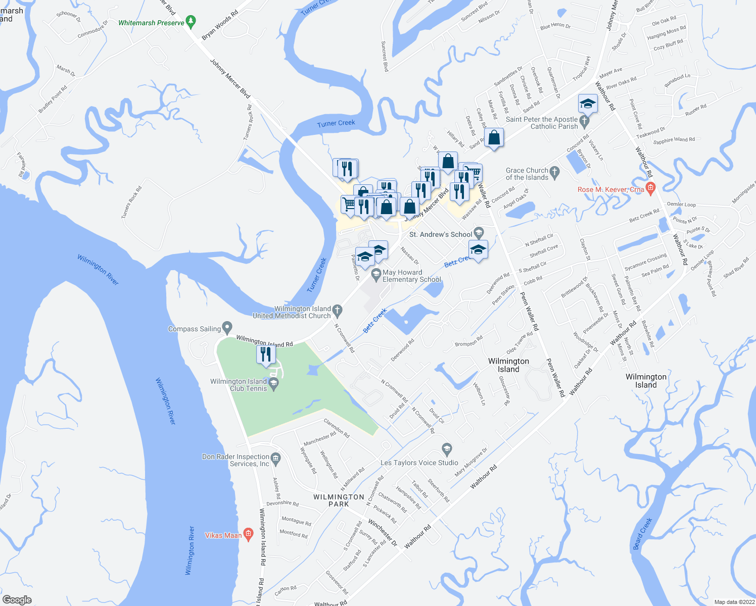 map of restaurants, bars, coffee shops, grocery stores, and more near 115 Wilmington Island Road in Savannah
