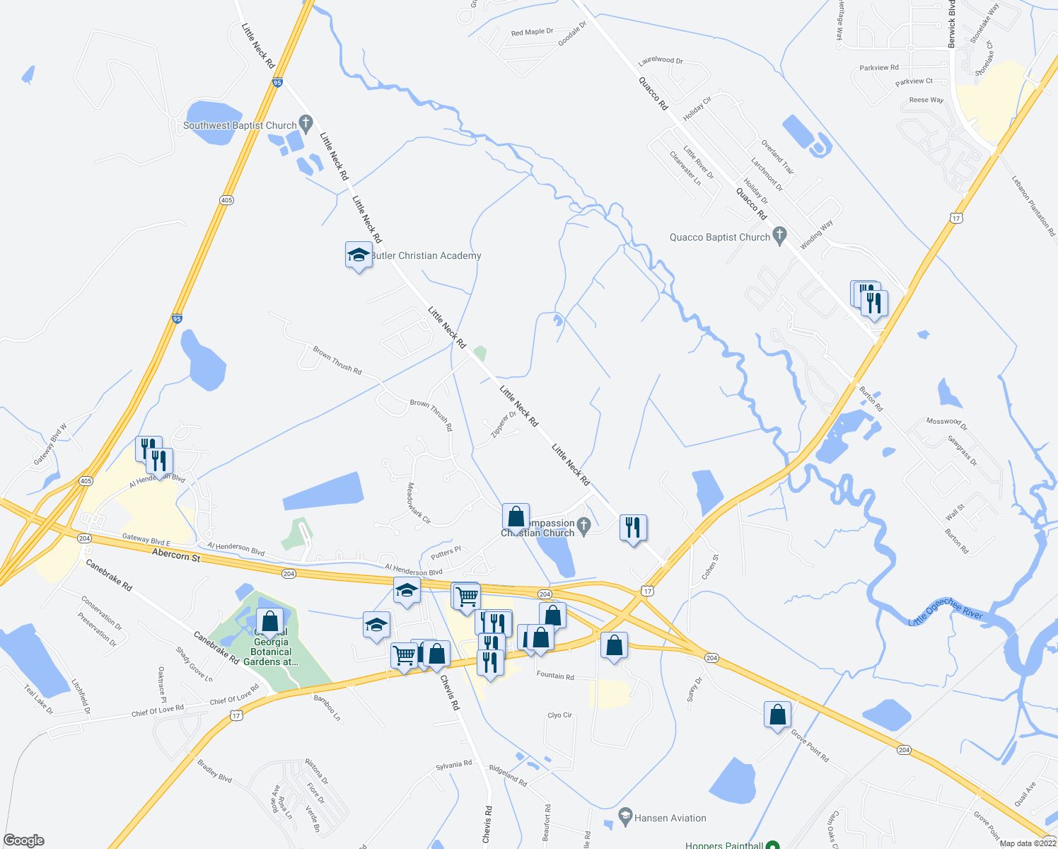 map of restaurants, bars, coffee shops, grocery stores, and more near 505 Little Neck Road in Savannah