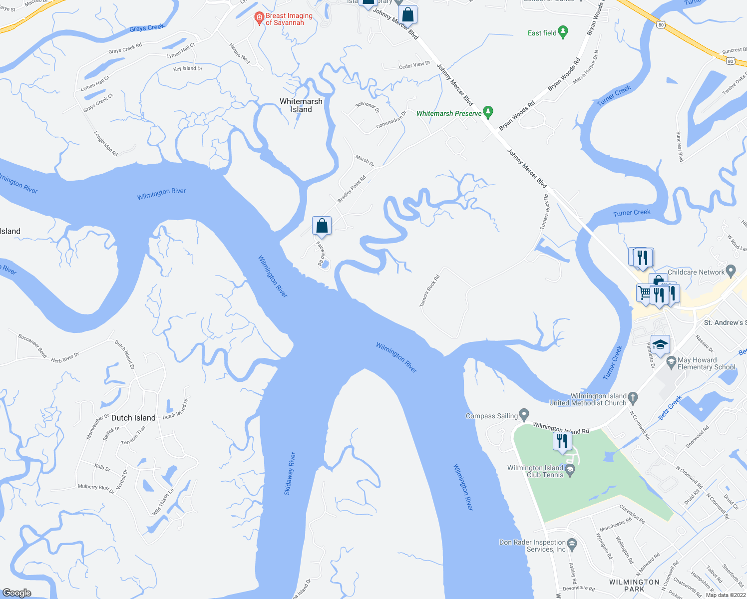map of restaurants, bars, coffee shops, grocery stores, and more near 5600 Turners Rock Road in Savannah