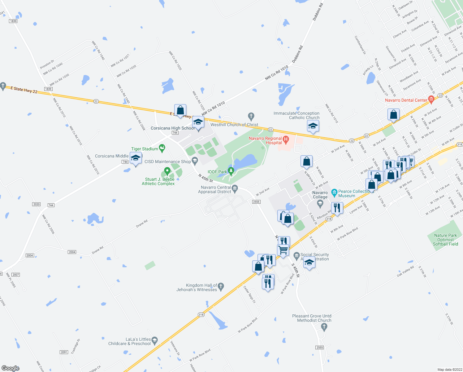 map of restaurants, bars, coffee shops, grocery stores, and more near 1300 North 45th Street in Corsicana