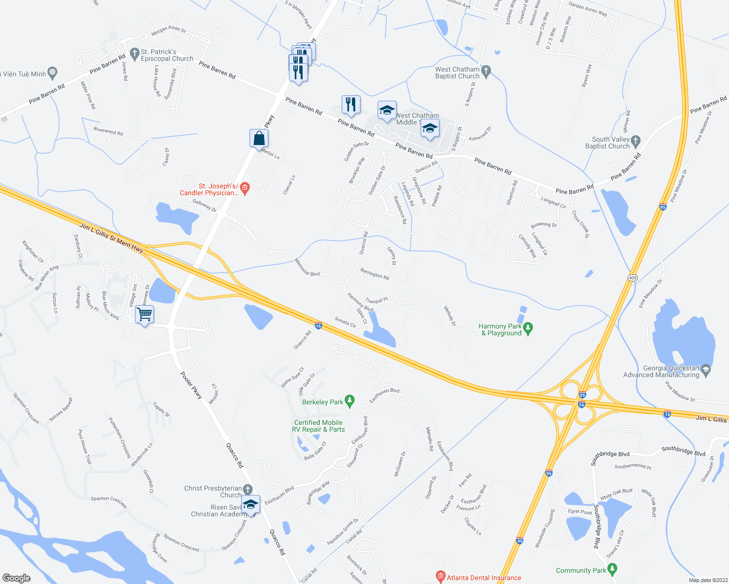 map of restaurants, bars, coffee shops, grocery stores, and more near 51 Tranquil Place in Pooler