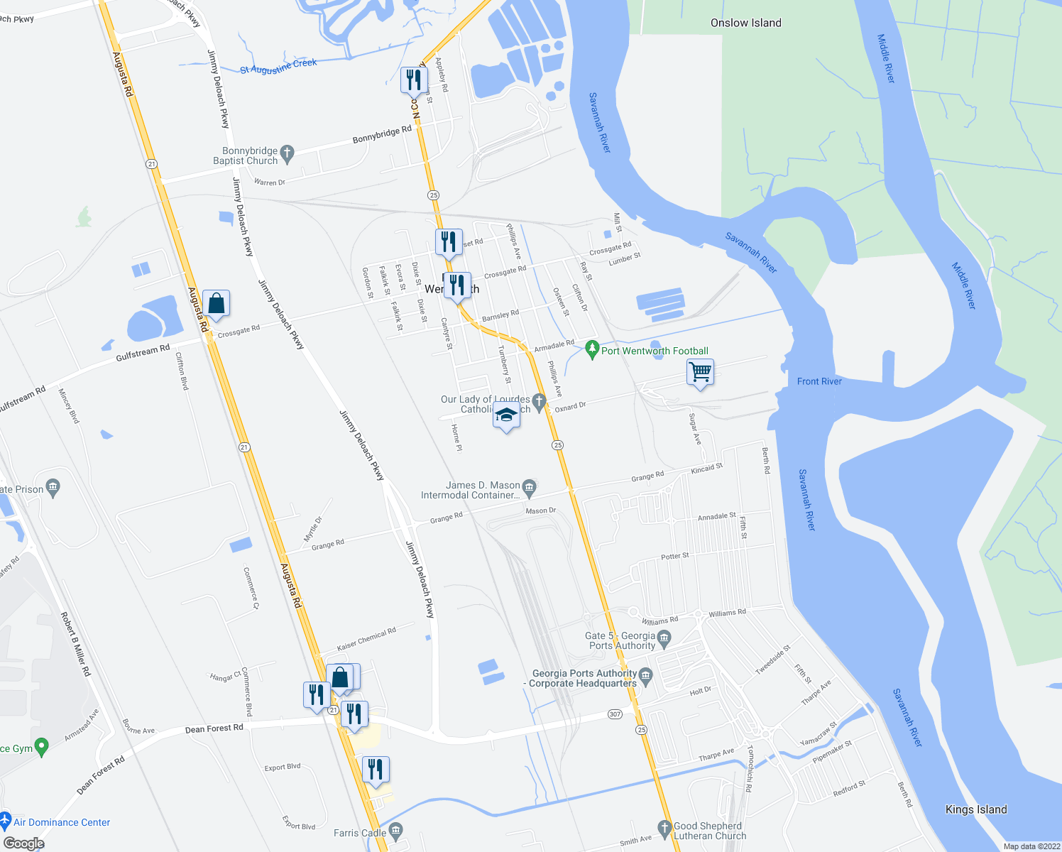 map of restaurants, bars, coffee shops, grocery stores, and more near 507 South Coastal Highway in Savannah