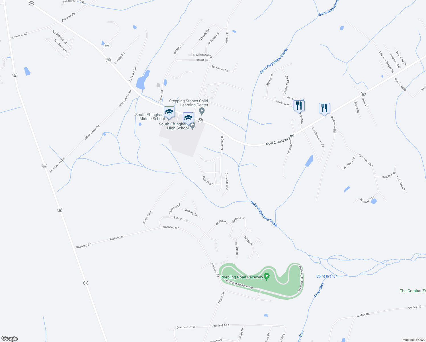 map of restaurants, bars, coffee shops, grocery stores, and more near 111 Pasofina Drive in Guyton