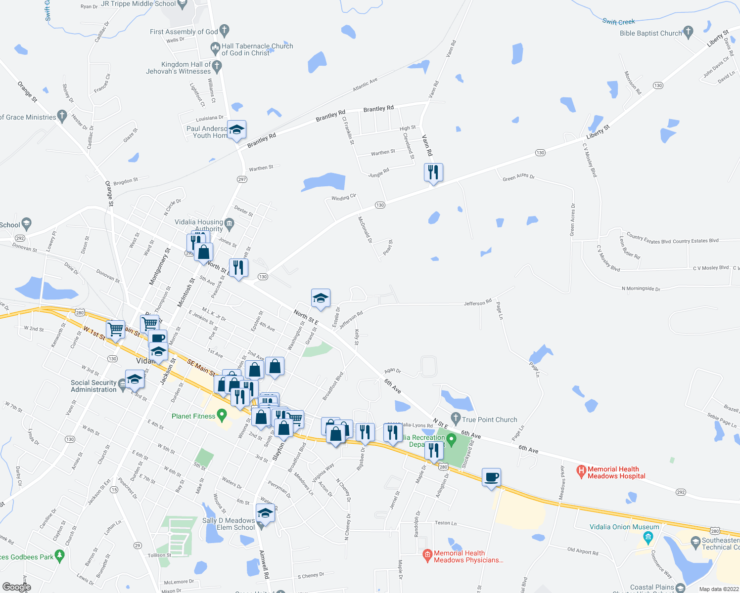 map of restaurants, bars, coffee shops, grocery stores, and more near 1206-1208 Easter Drive in Vidalia
