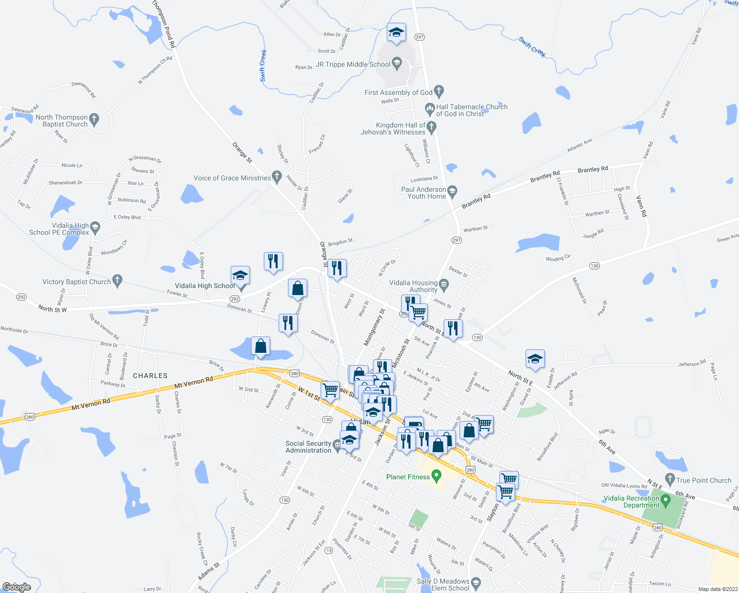 map of restaurants, bars, coffee shops, grocery stores, and more near 403 North Saint West in Vidalia