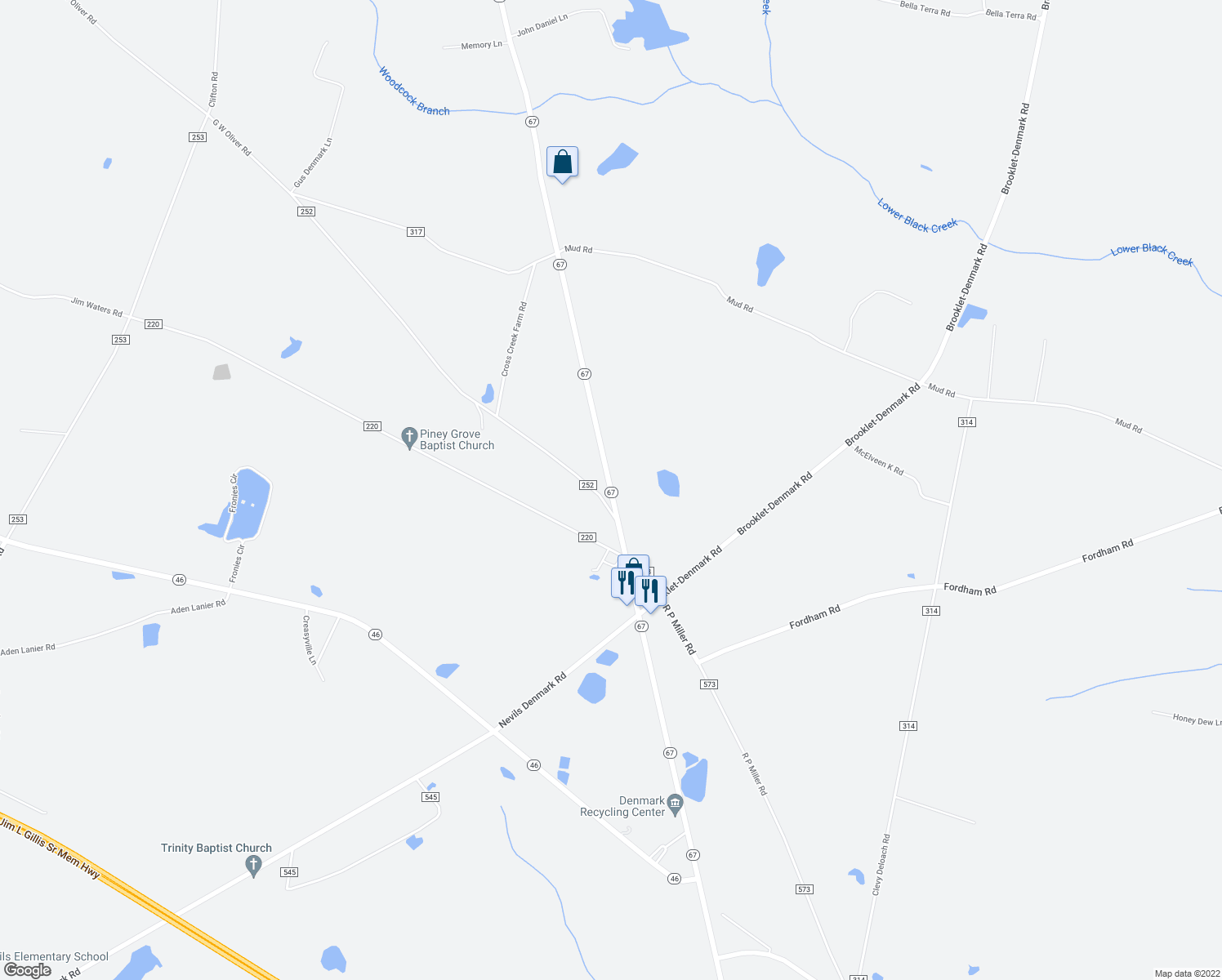 map of restaurants, bars, coffee shops, grocery stores, and more near G W Oliver Road in Brooklet