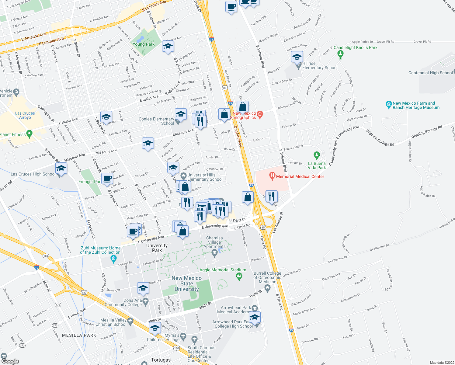 map of restaurants, bars, coffee shops, grocery stores, and more near 2135 Payne Street in Las Cruces