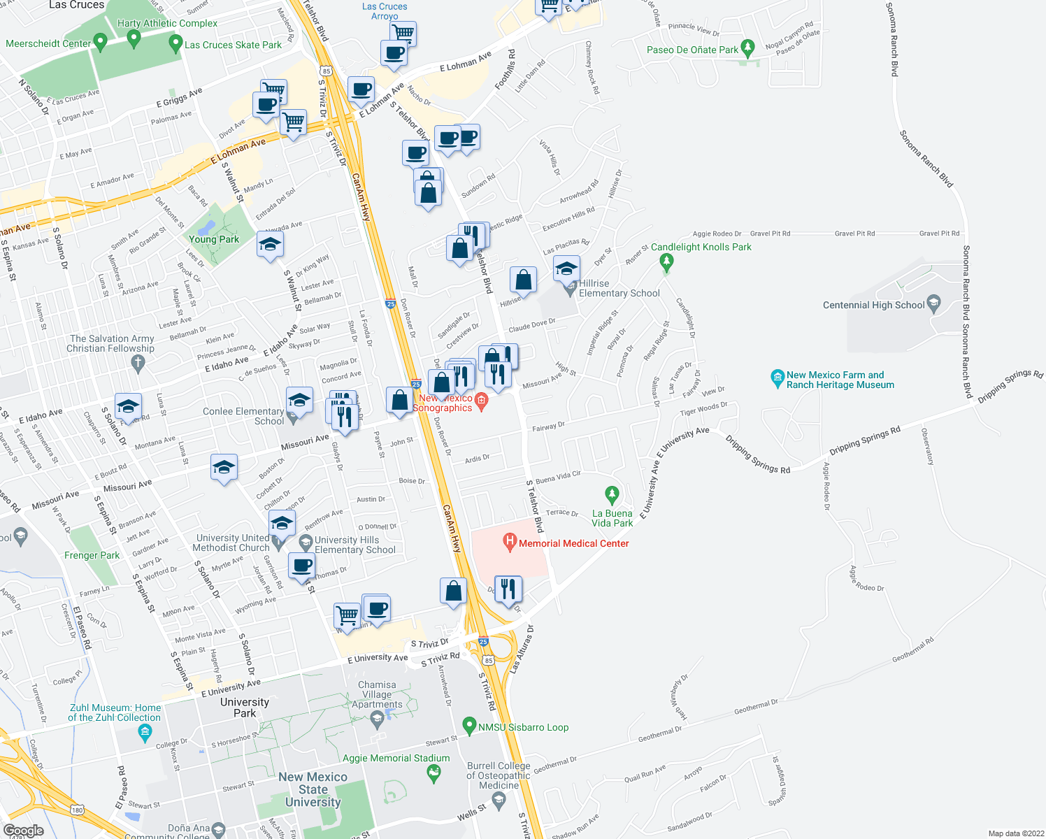 map of restaurants, bars, coffee shops, grocery stores, and more near 2900-2936 Fairway Drive in Las Cruces