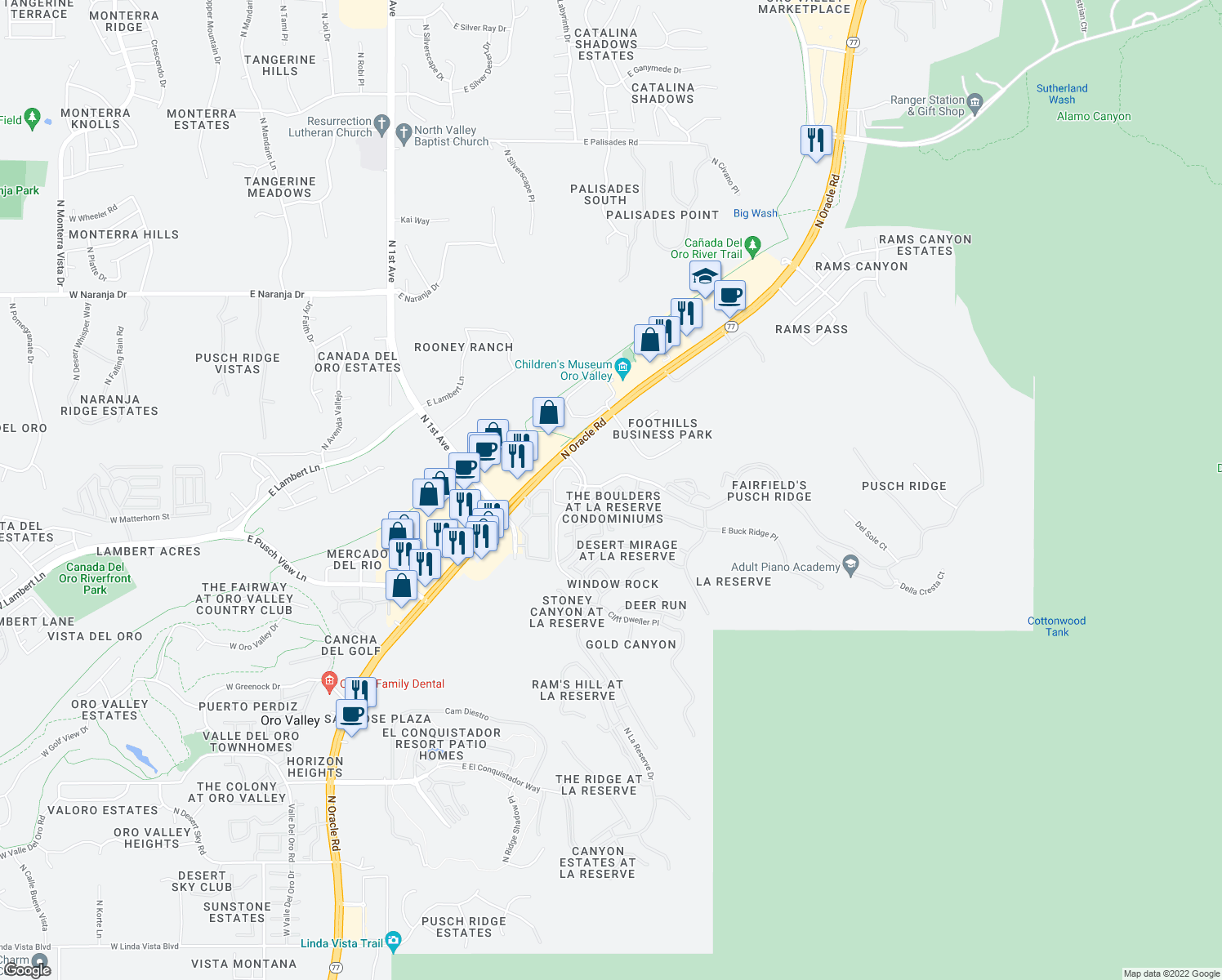 map of restaurants, bars, coffee shops, grocery stores, and more near 1500 East Pusch Wilderness Drive in Oro Valley