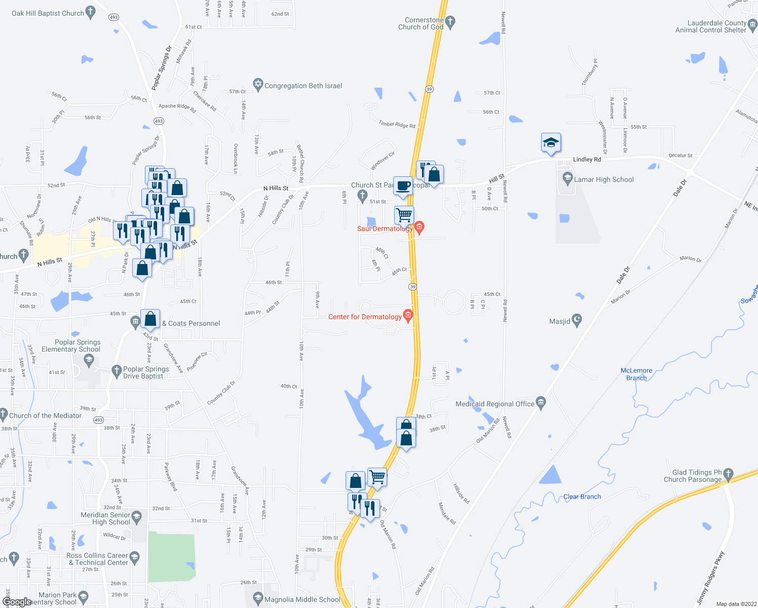 map of restaurants, bars, coffee shops, grocery stores, and more near 4501 Hwy 39 N in Meridian