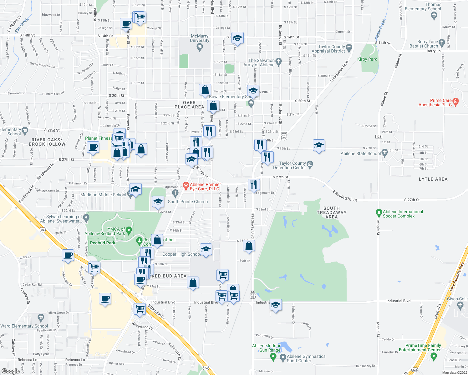 map of restaurants, bars, coffee shops, grocery stores, and more near 2910 Vine Street in Abilene