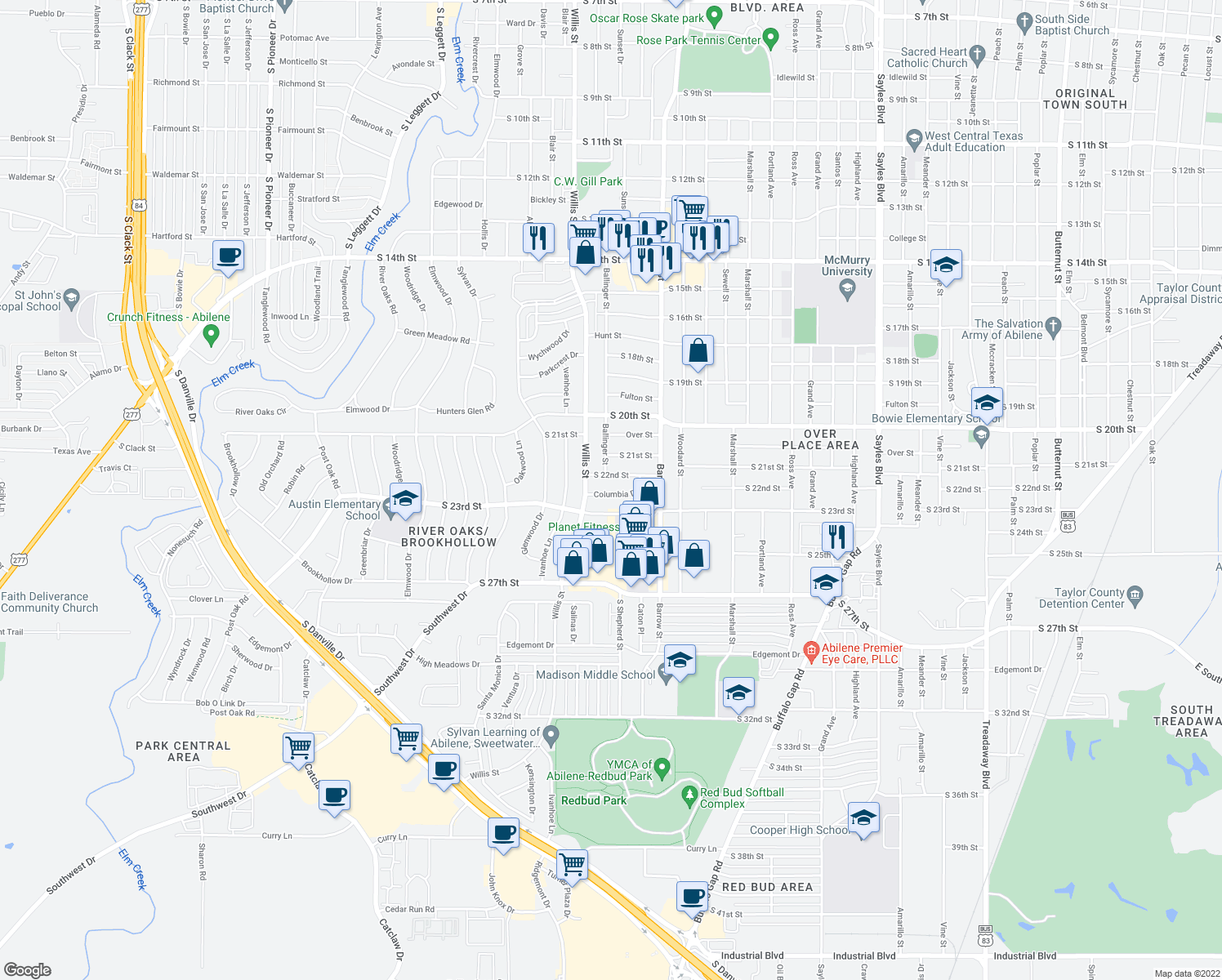 map of restaurants, bars, coffee shops, grocery stores, and more near 3182 Columbia Drive in Abilene