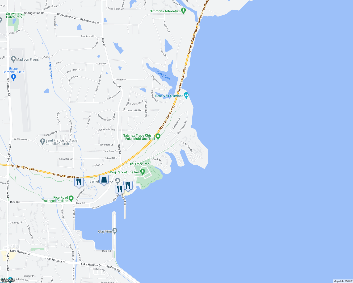 map of restaurants, bars, coffee shops, grocery stores, and more near 5 Marina Cove in Ridgeland