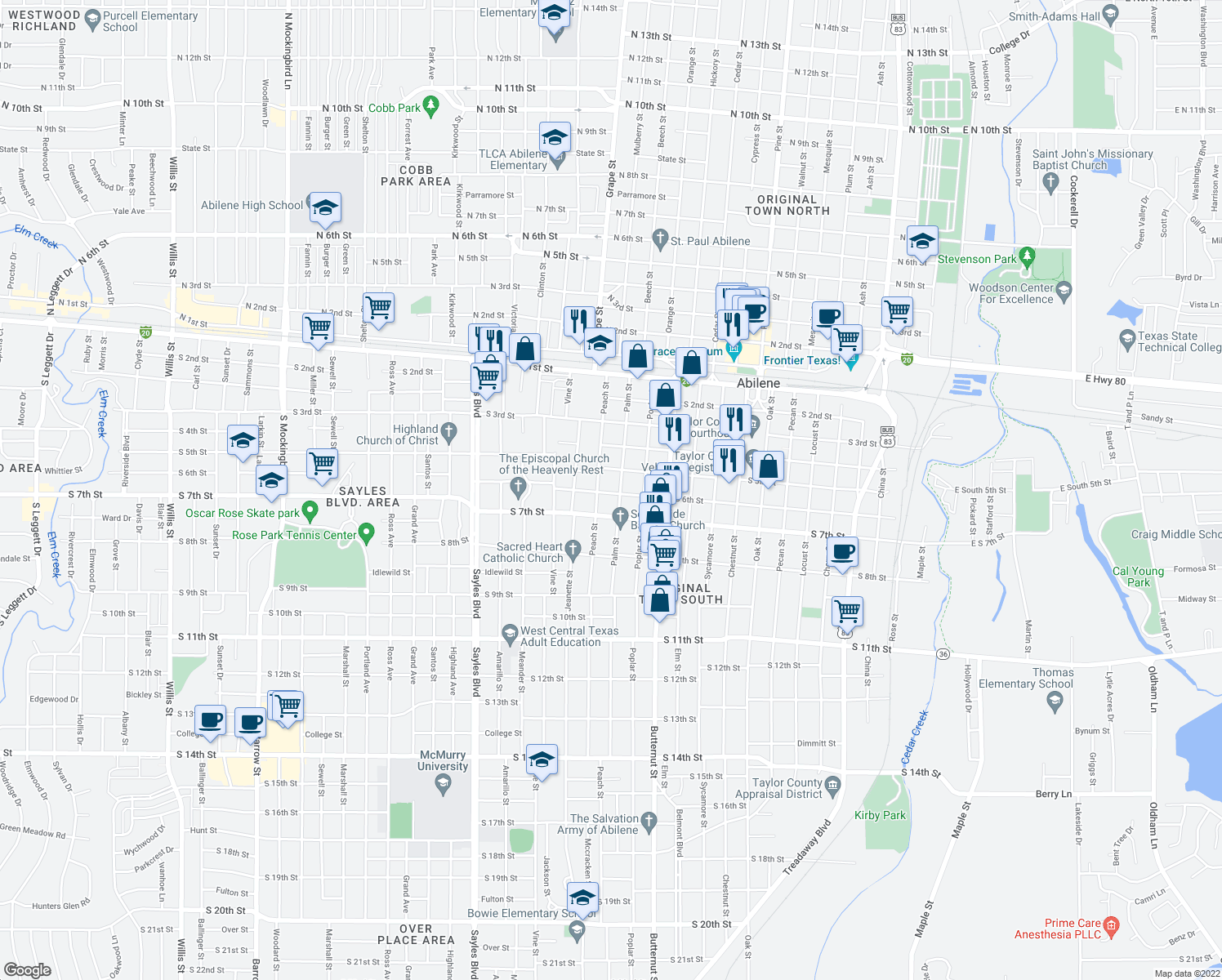 map of restaurants, bars, coffee shops, grocery stores, and more near 1518 South 6th Street in Abilene