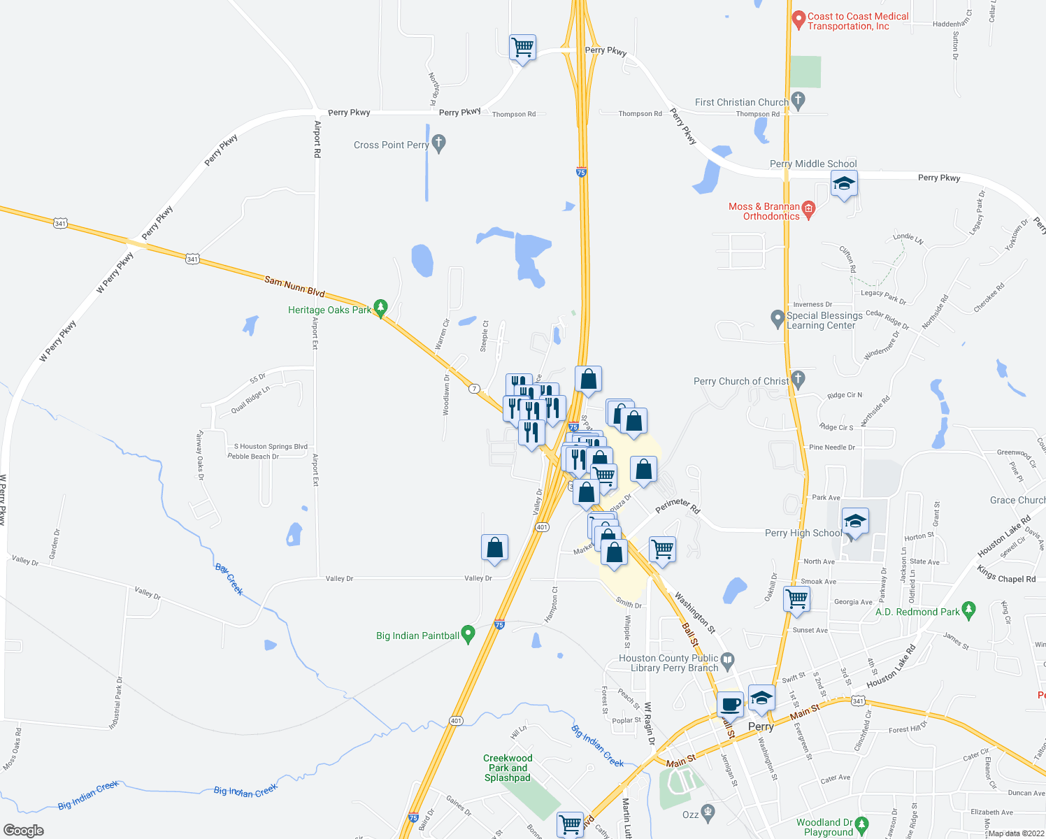map of restaurants, bars, coffee shops, grocery stores, and more near 1509 Sam Nunn Boulevard in Perry