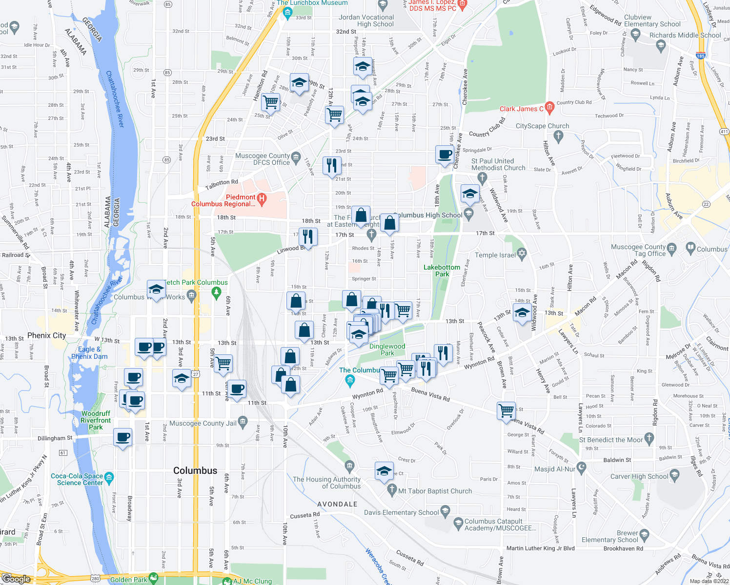 map of restaurants, bars, coffee shops, grocery stores, and more near 1332 15th Street in Columbus