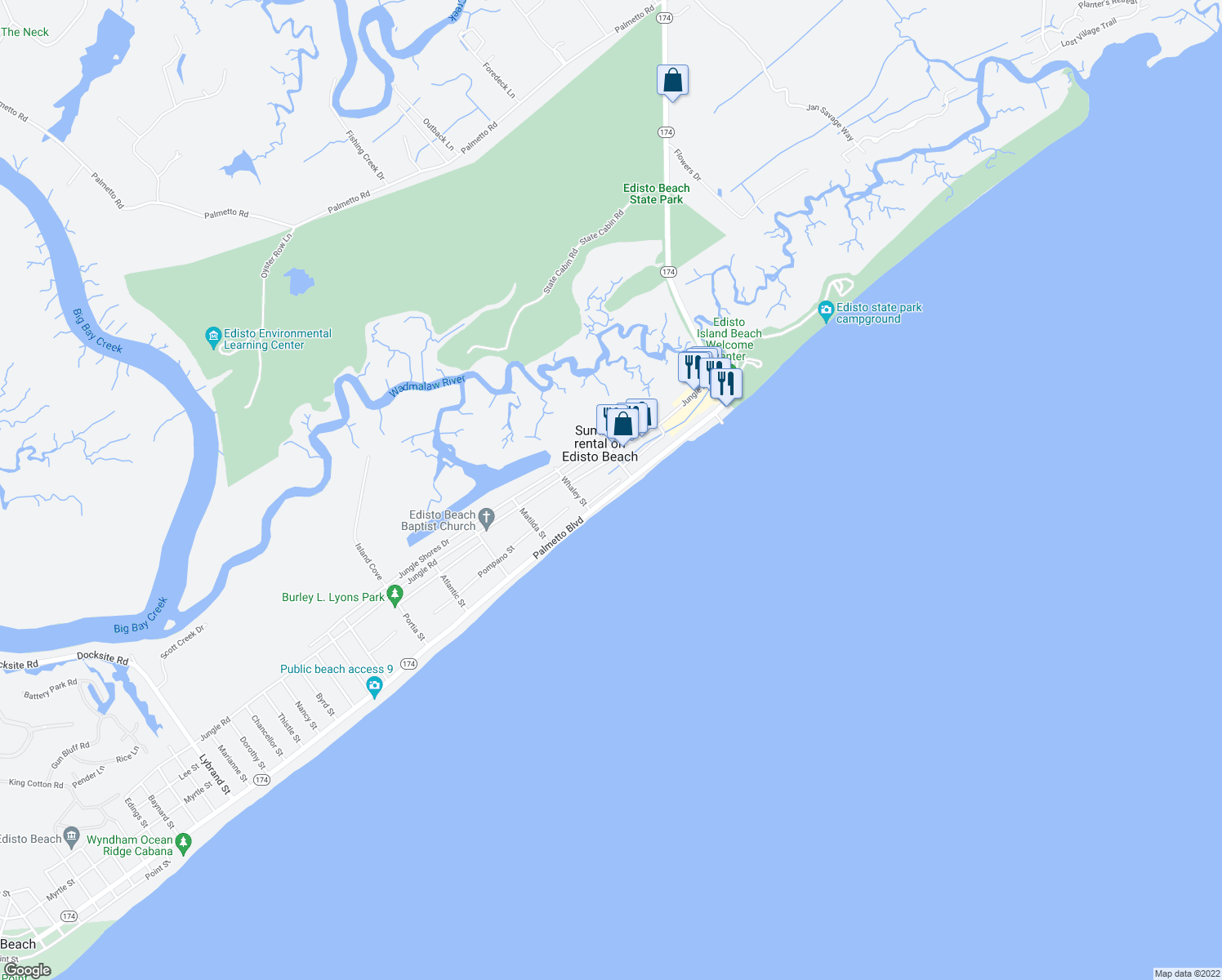 map of restaurants, bars, coffee shops, grocery stores, and more near 209 Palmetto Boulevard in Edisto Island