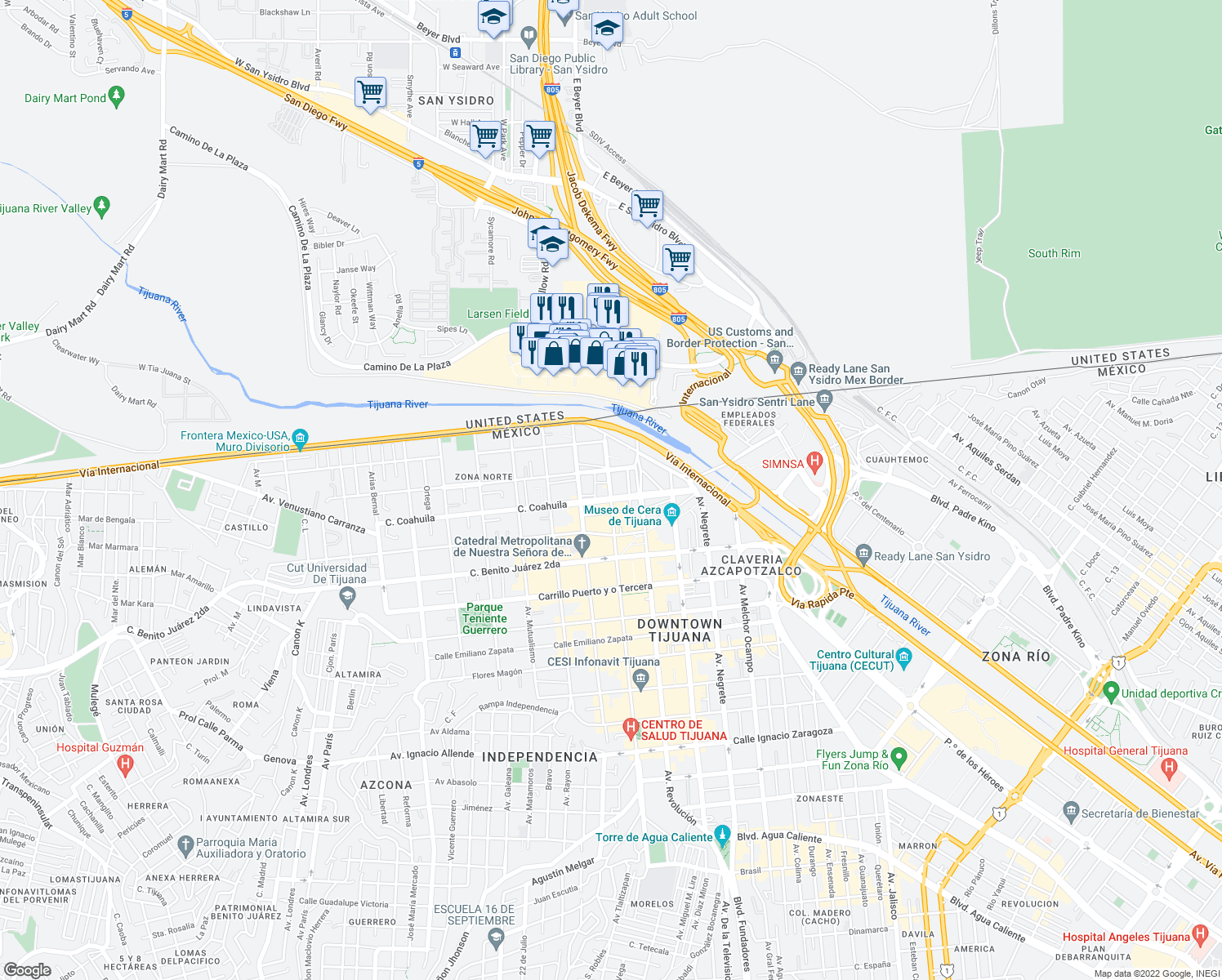 map of restaurants, bars, coffee shops, grocery stores, and more near 414 Av. Constitución in Tijuana