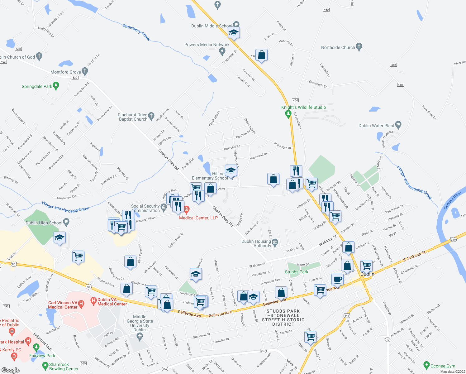 map of restaurants, bars, coffee shops, grocery stores, and more near 602 Hillcrest Parkway in Dublin
