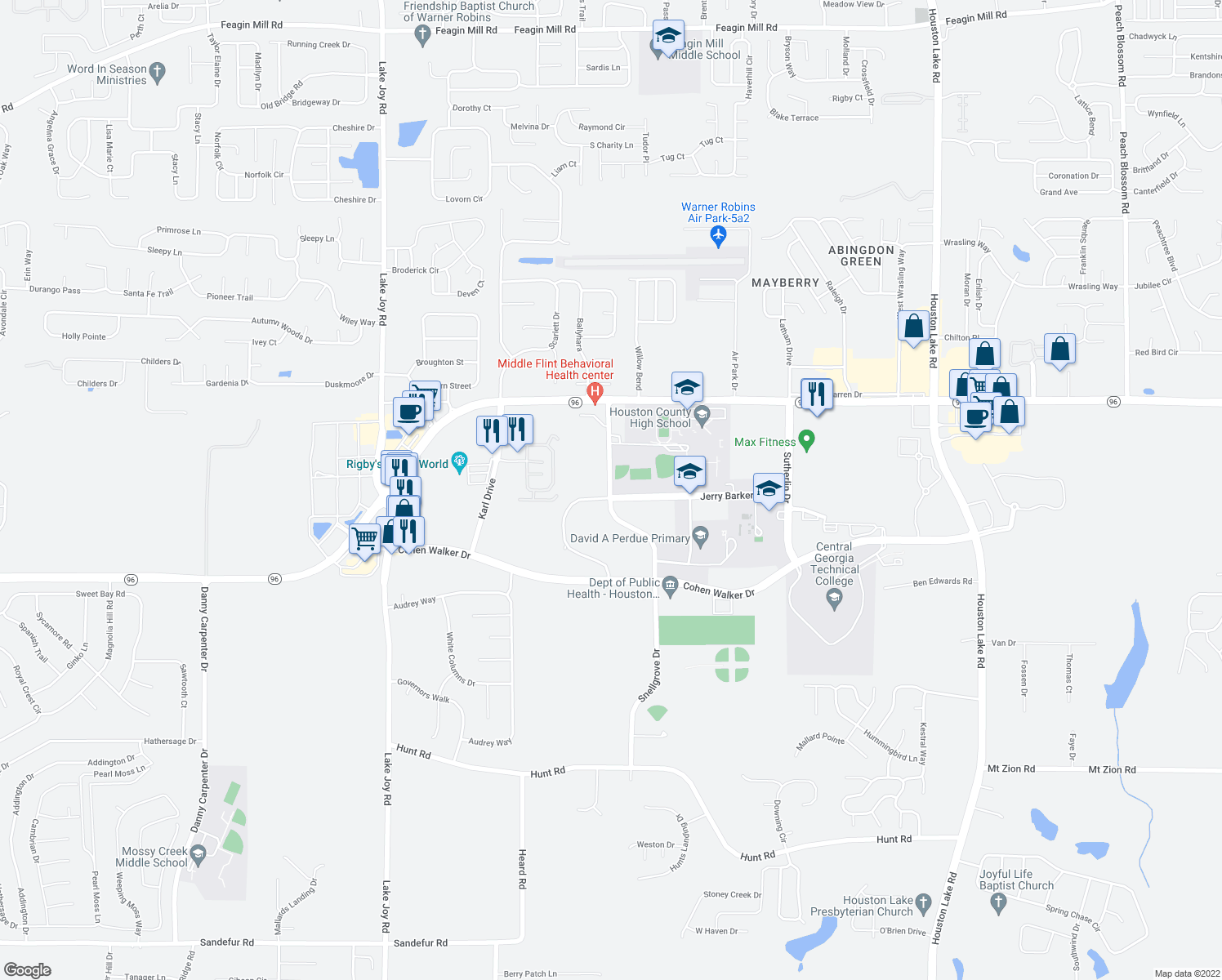 map of restaurants, bars, coffee shops, grocery stores, and more near Jerry Barker Drive in Warner Robins