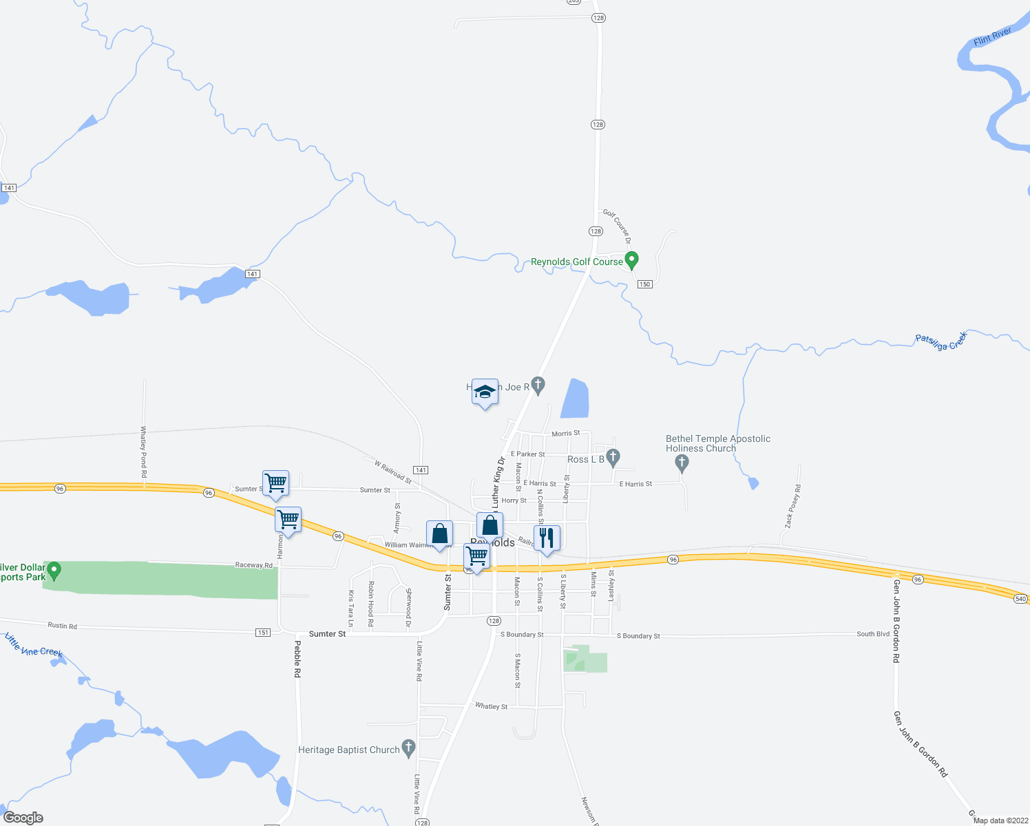 map of restaurants, bars, coffee shops, grocery stores, and more near 607 Highway 128 in Reynolds
