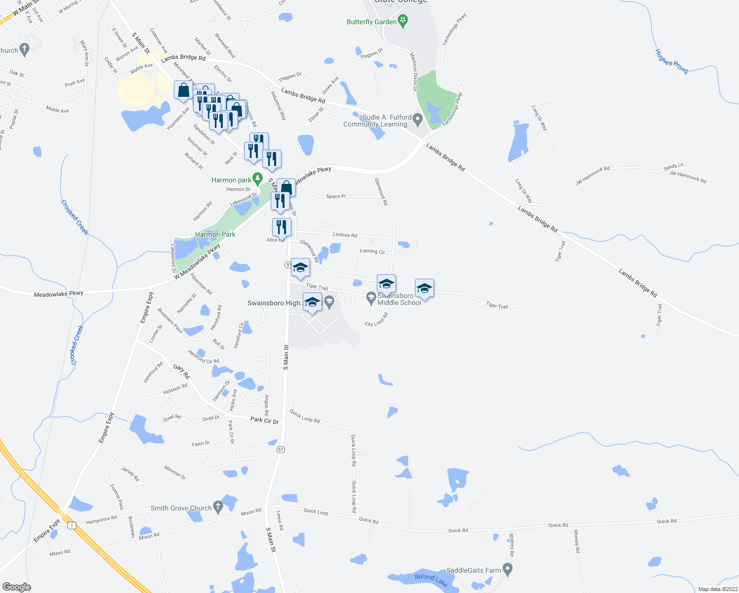 map of restaurants, bars, coffee shops, grocery stores, and more near 101-137 Tiger Trail in Swainsboro