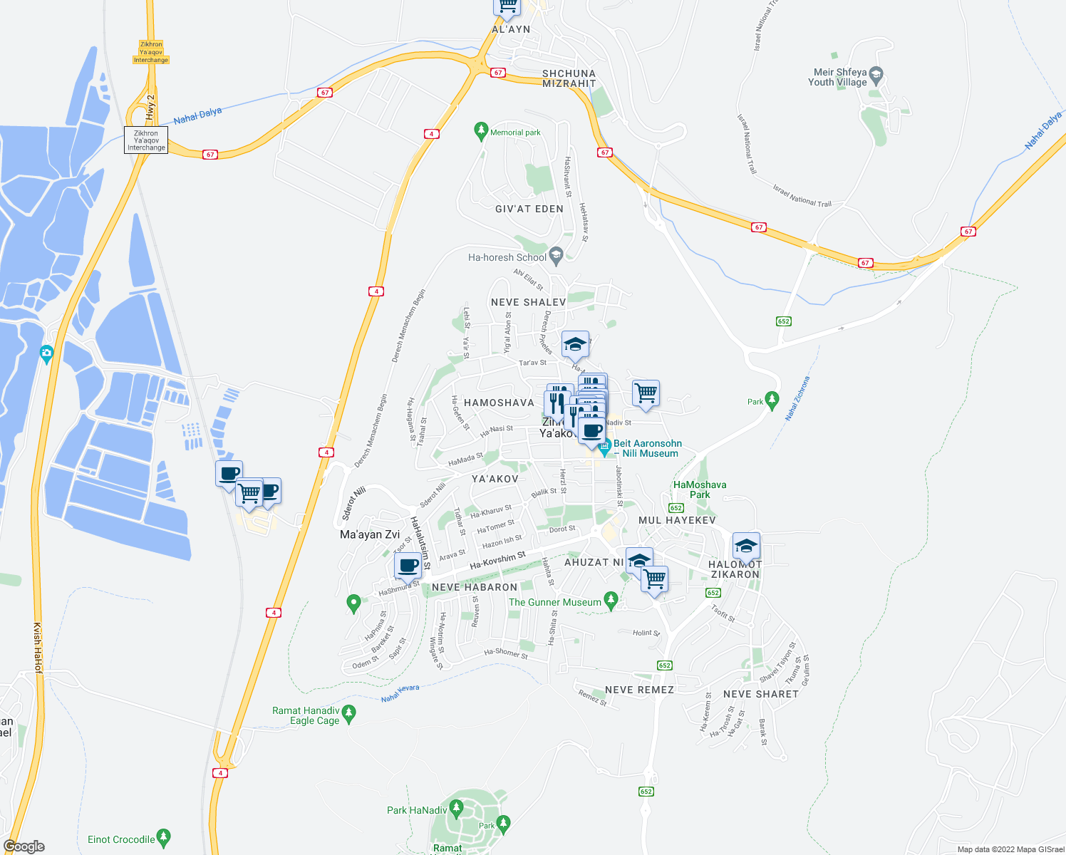 map of restaurants, bars, coffee shops, grocery stores, and more near 38 Ha-Nasi Street in Zikhron Ya'akov