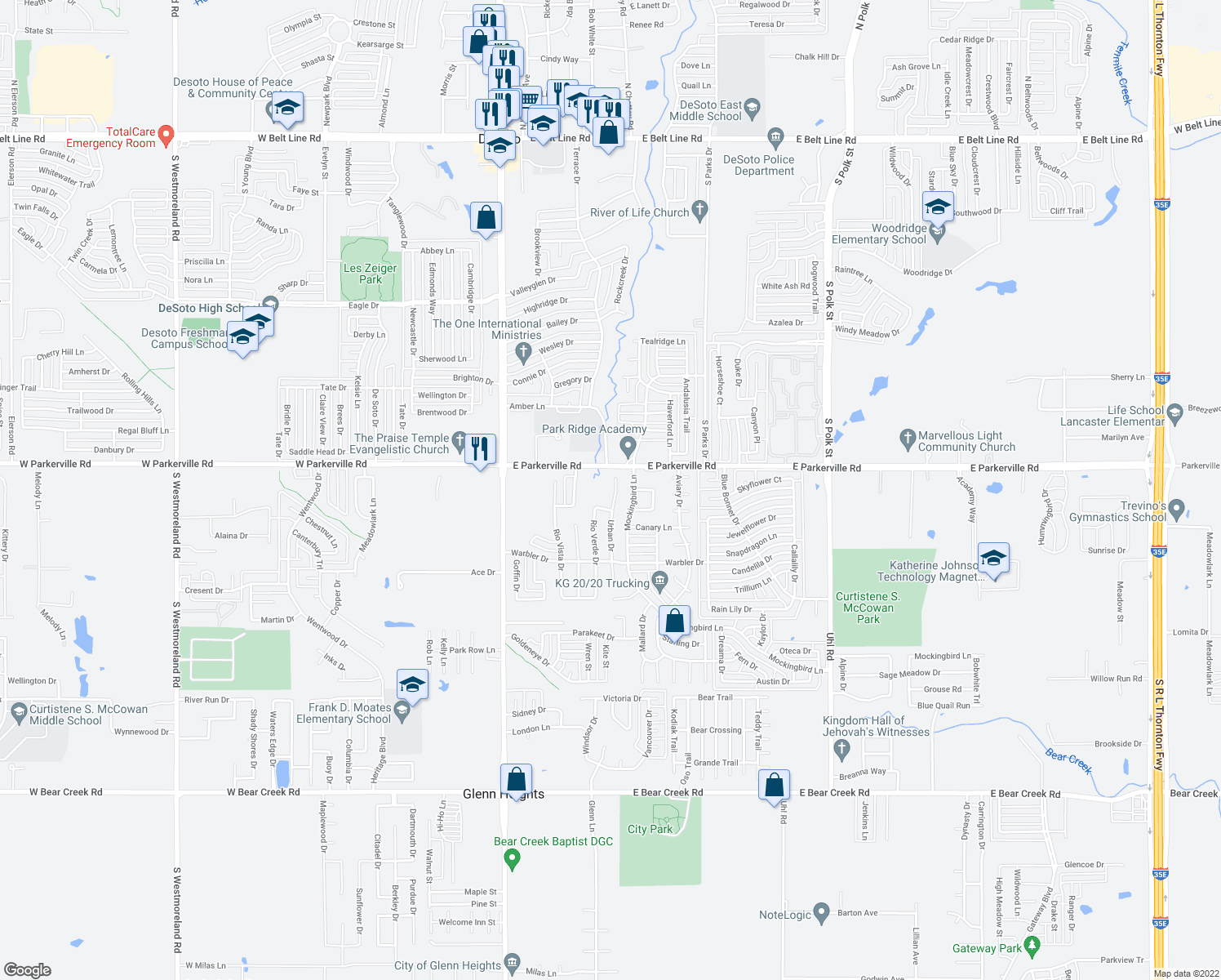 map of restaurants, bars, coffee shops, grocery stores, and more near 913 Urban Drive in DeSoto