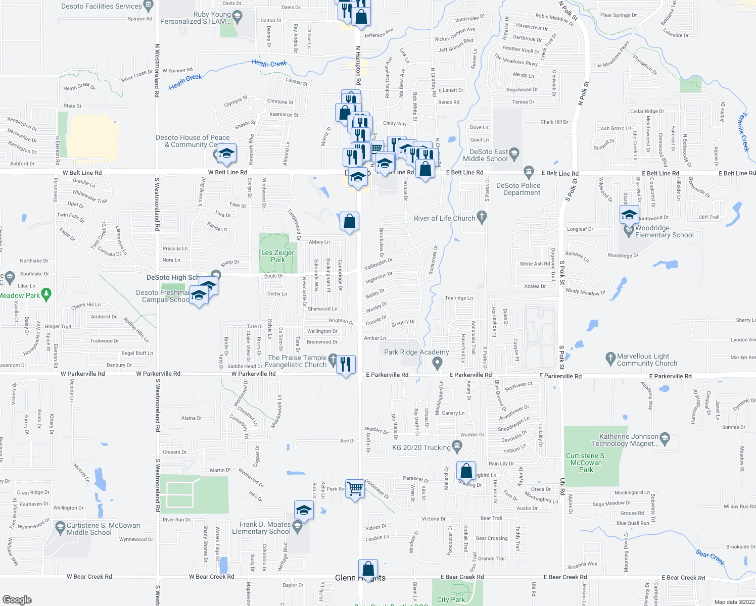 map of restaurants, bars, coffee shops, grocery stores, and more near 124 Wesley Drive in DeSoto