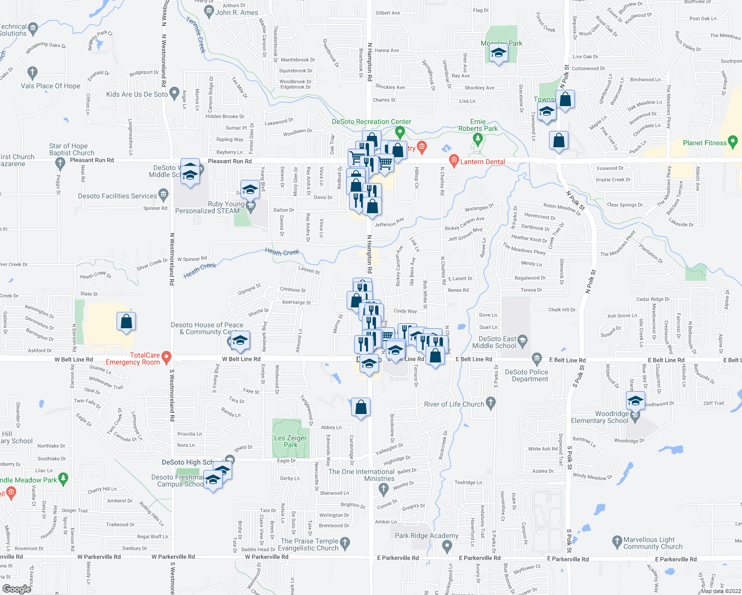 map of restaurants, bars, coffee shops, grocery stores, and more near 302 North Hampton Road in DeSoto